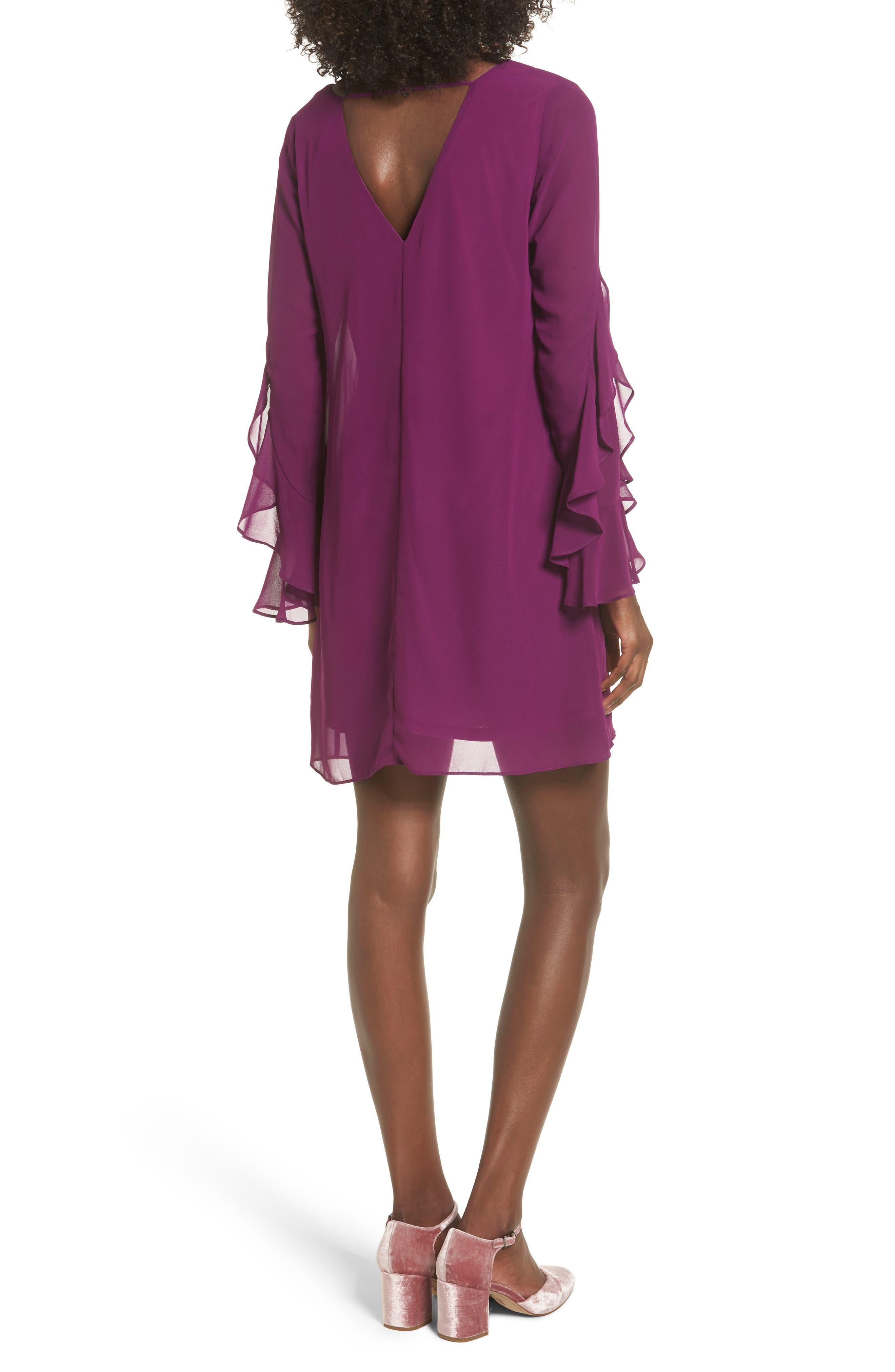 Ruffle Sleeve Shift Dress,                             Alternate thumbnail 8, color,