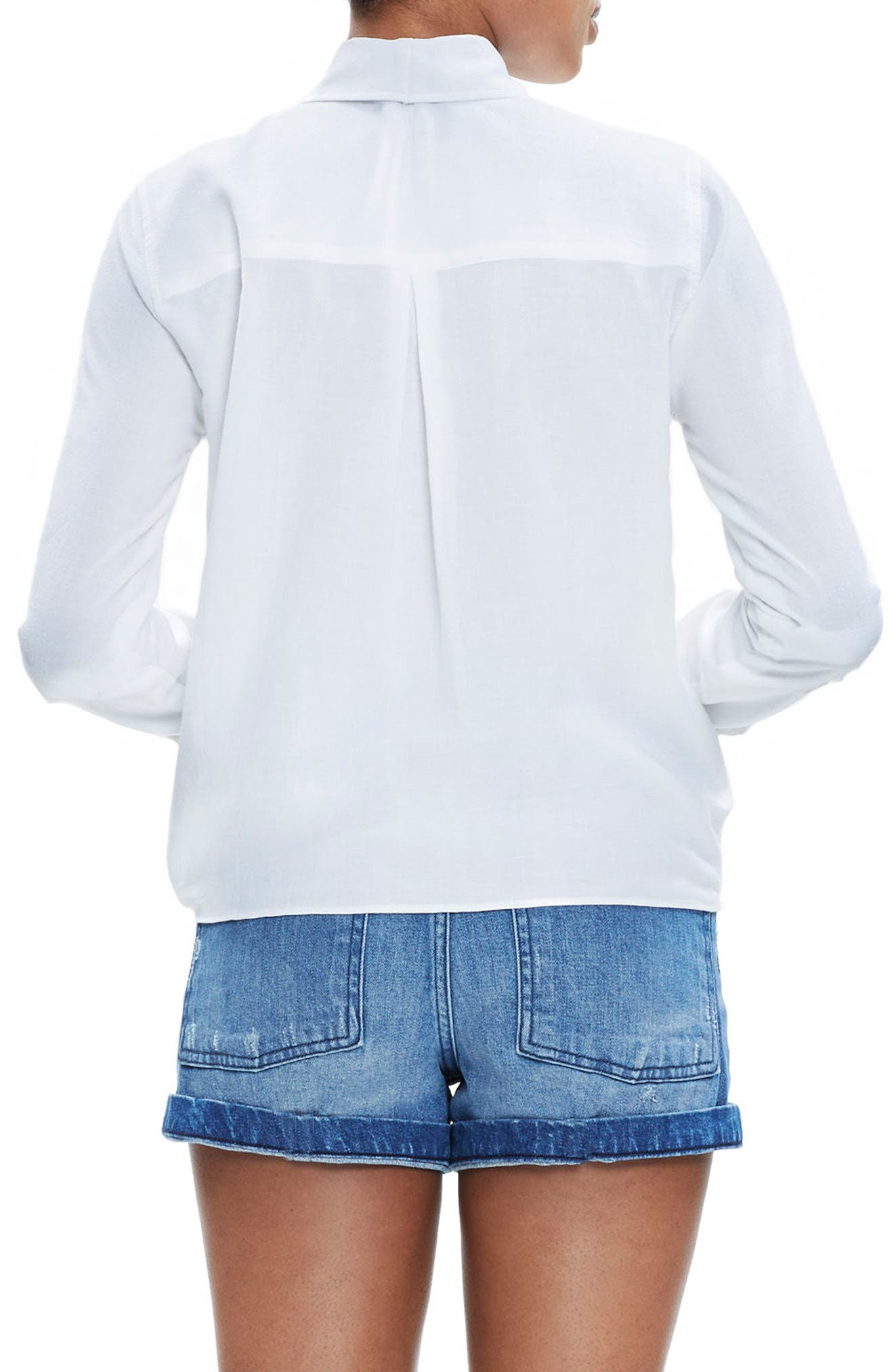 Tie Front Shirt,                             Alternate thumbnail 2, color,                             EYELET WHITE