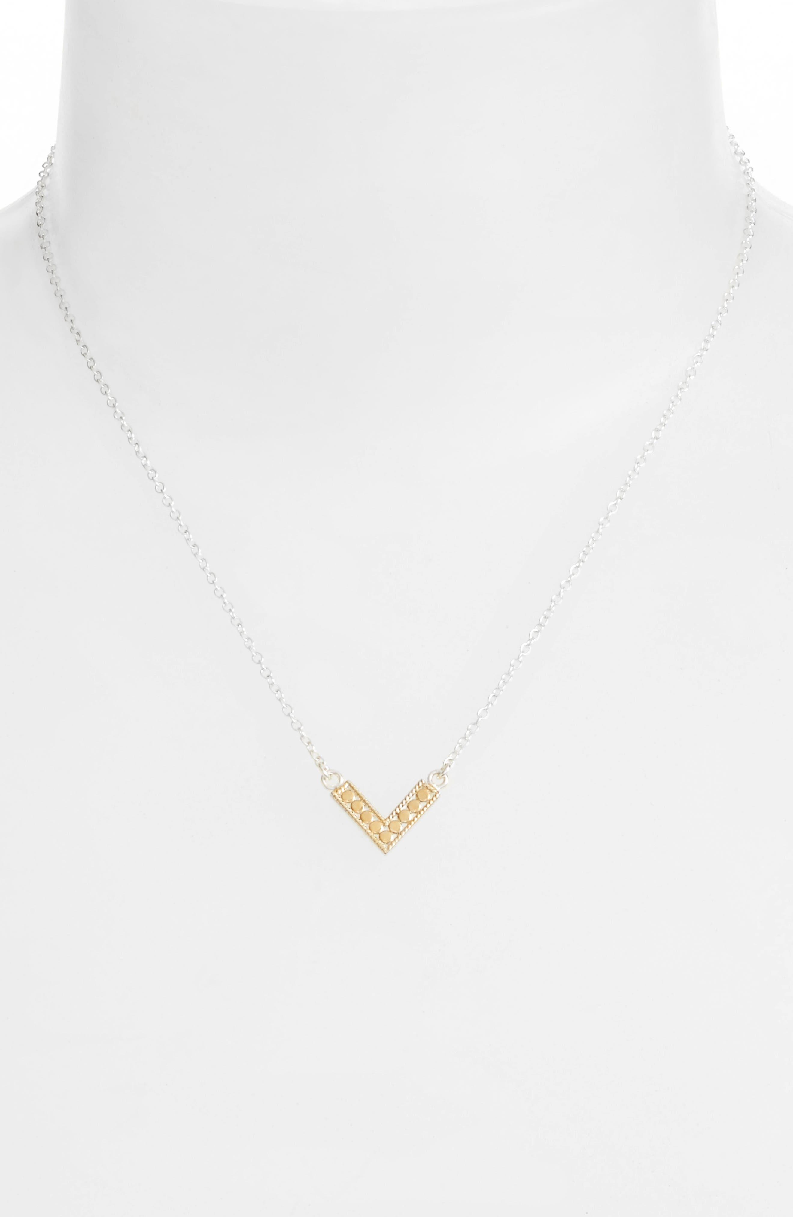 Reversible Mini V-Pendant Necklace,                             Alternate thumbnail 2, color,