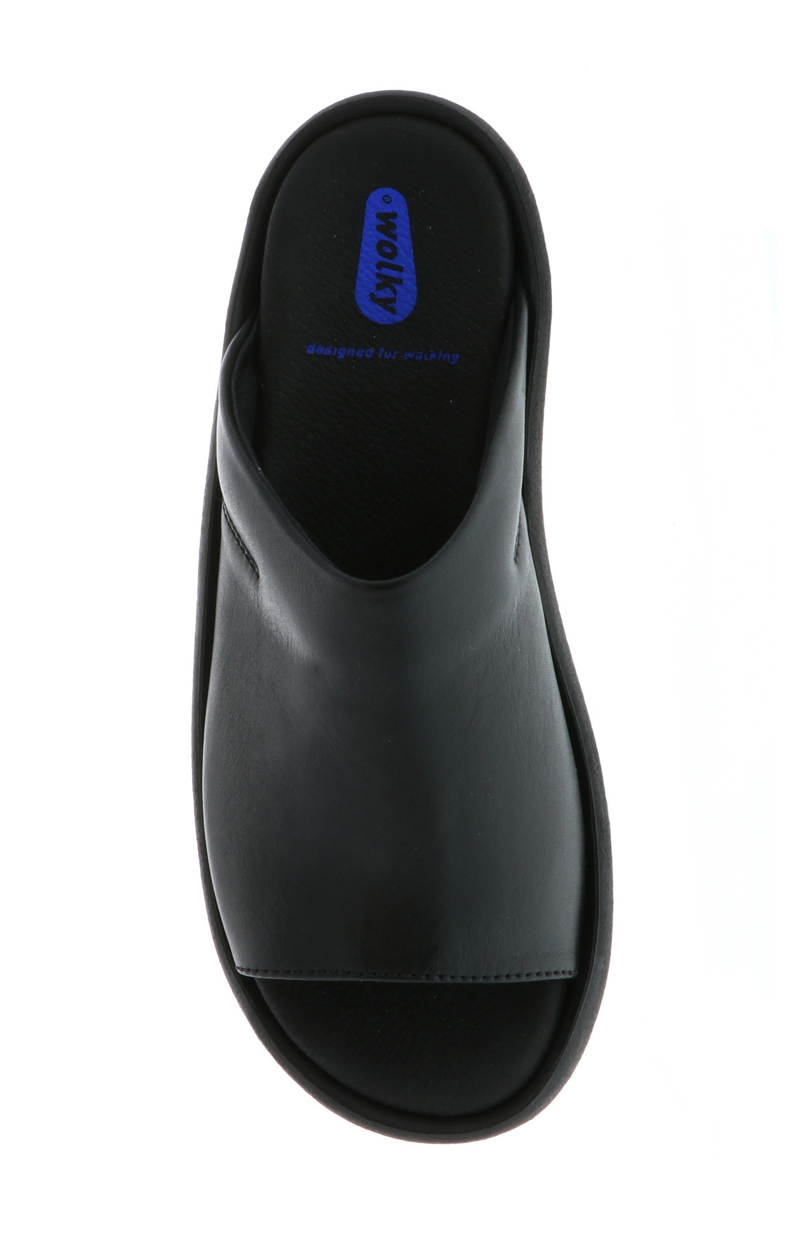 Nassau Slide Sandal,                             Alternate thumbnail 5, color,                             BLACK SMOOTH LEATHER