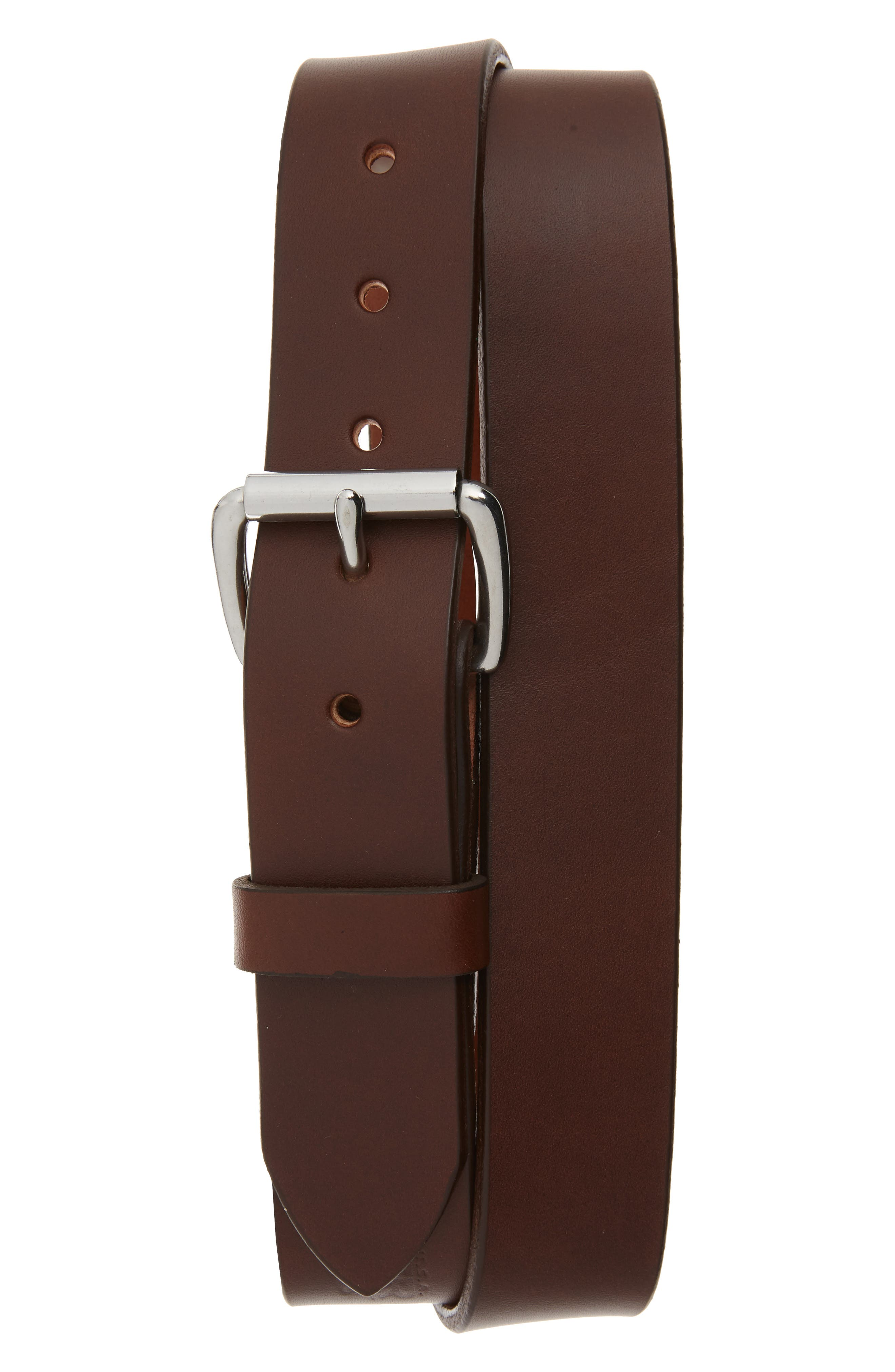 Standard Leather Belt,                         Main,                         color, COGNAC/ STAINLESS