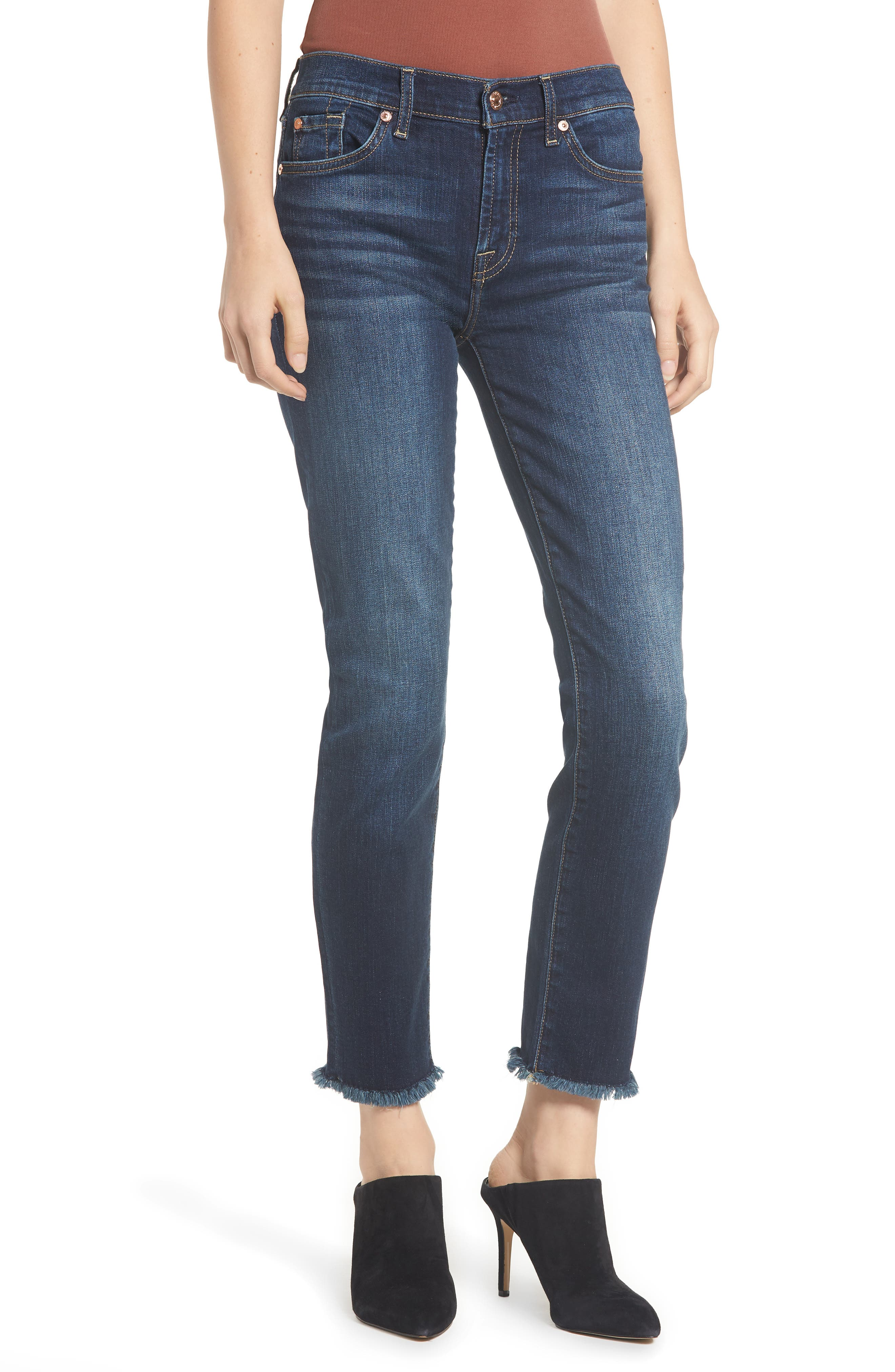 b(air) Roxanne Frayed Ankle Slim Jeans,                         Main,                         color, AUTHENTIC FATE