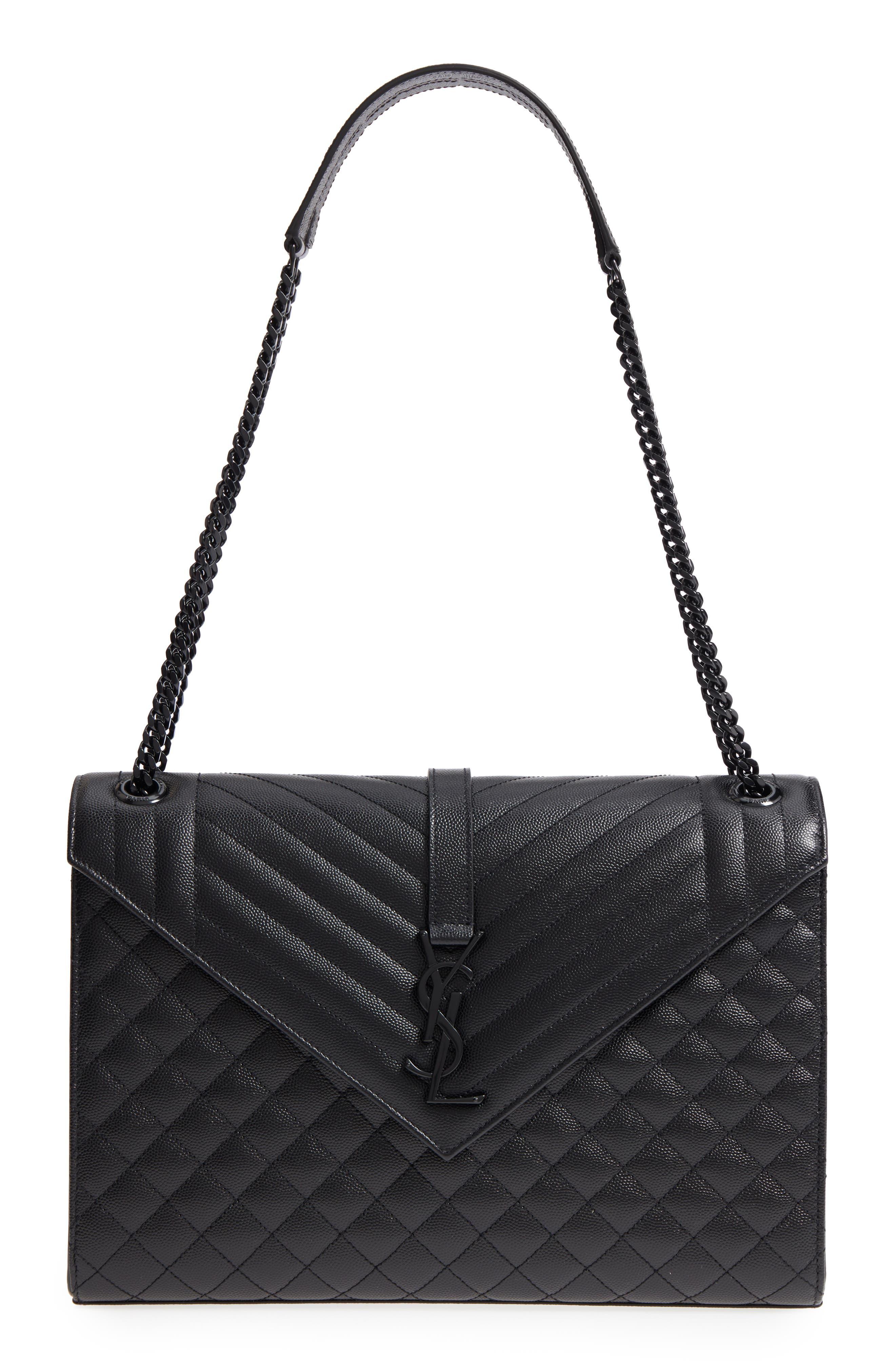 Large Cassandra Calfskin Shoulder Bag,                         Main,                         color, NERO/ NERO/ NERO
