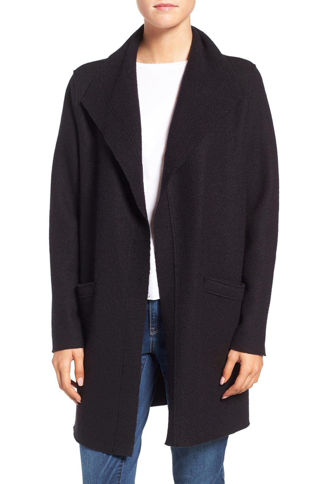 EILEEN FISHER,                             Boiled Wool Funnel Neck Coat,                             Main thumbnail 1, color,                             001