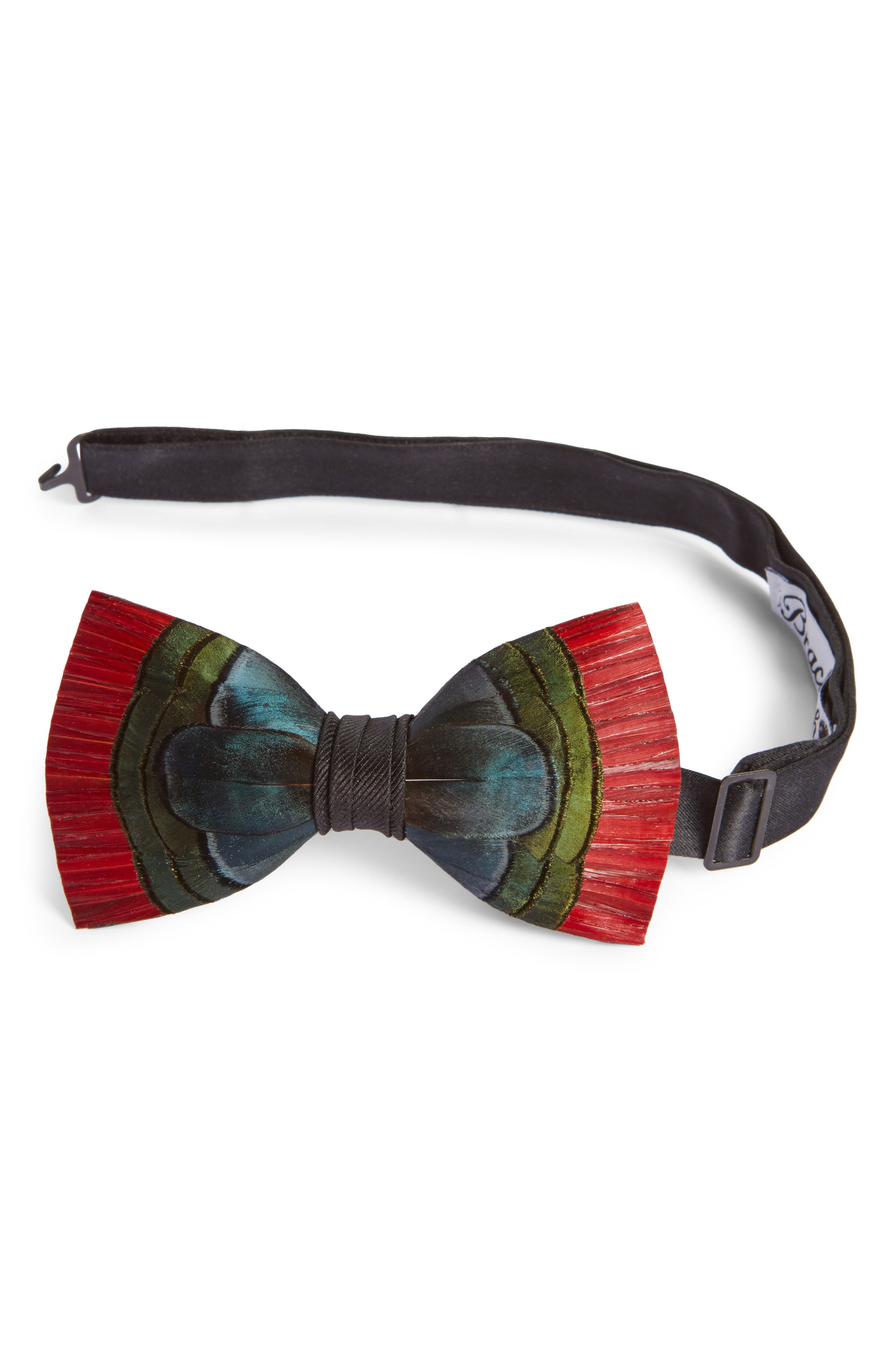 Hemingway Feather Bow Tie,                         Main,                         color, NAVY/ GREEN/ RED