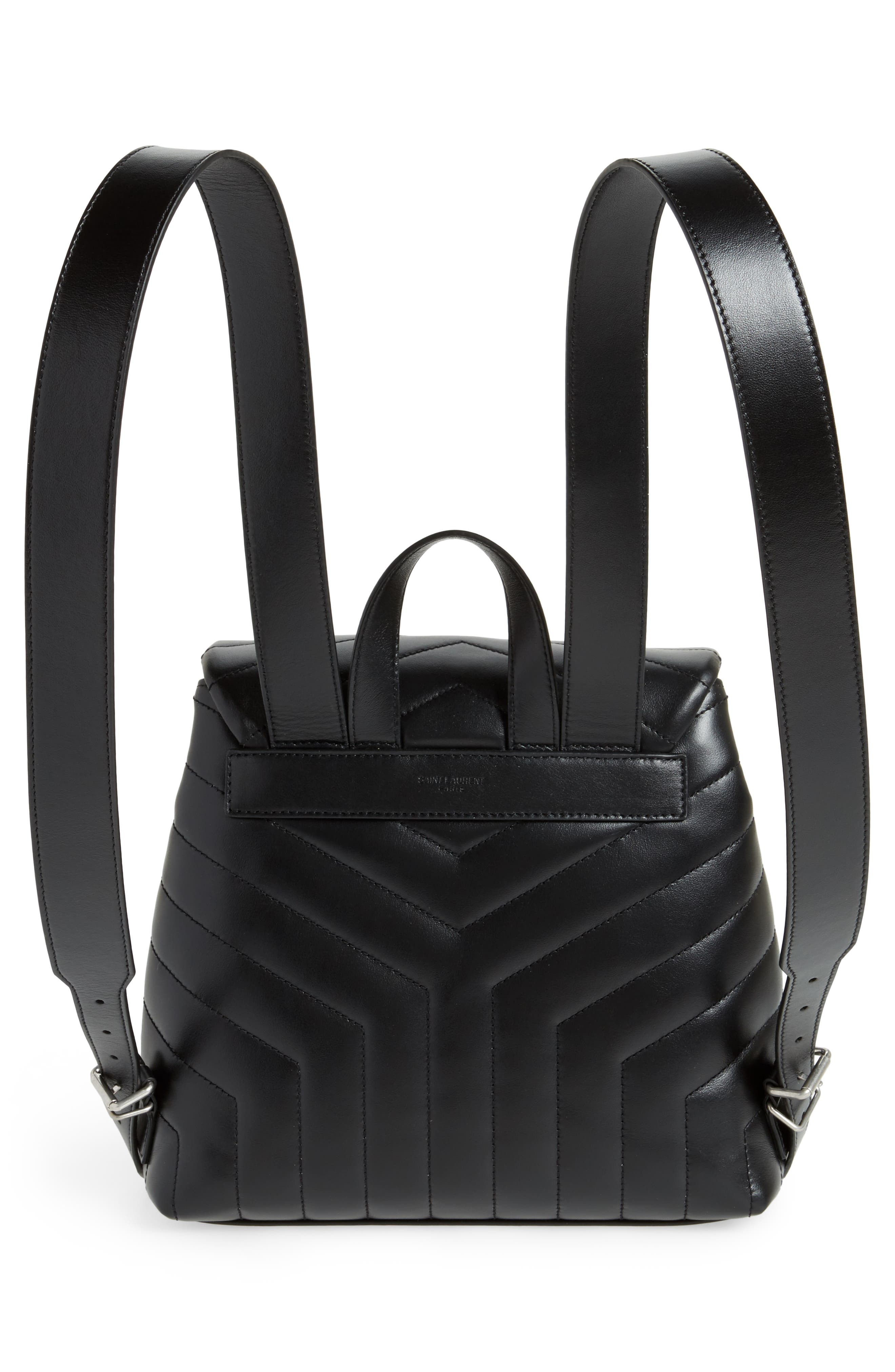 Small Loulou Quilted Calfskin Leather Backpack,                             Alternate thumbnail 3, color,                             NOIR