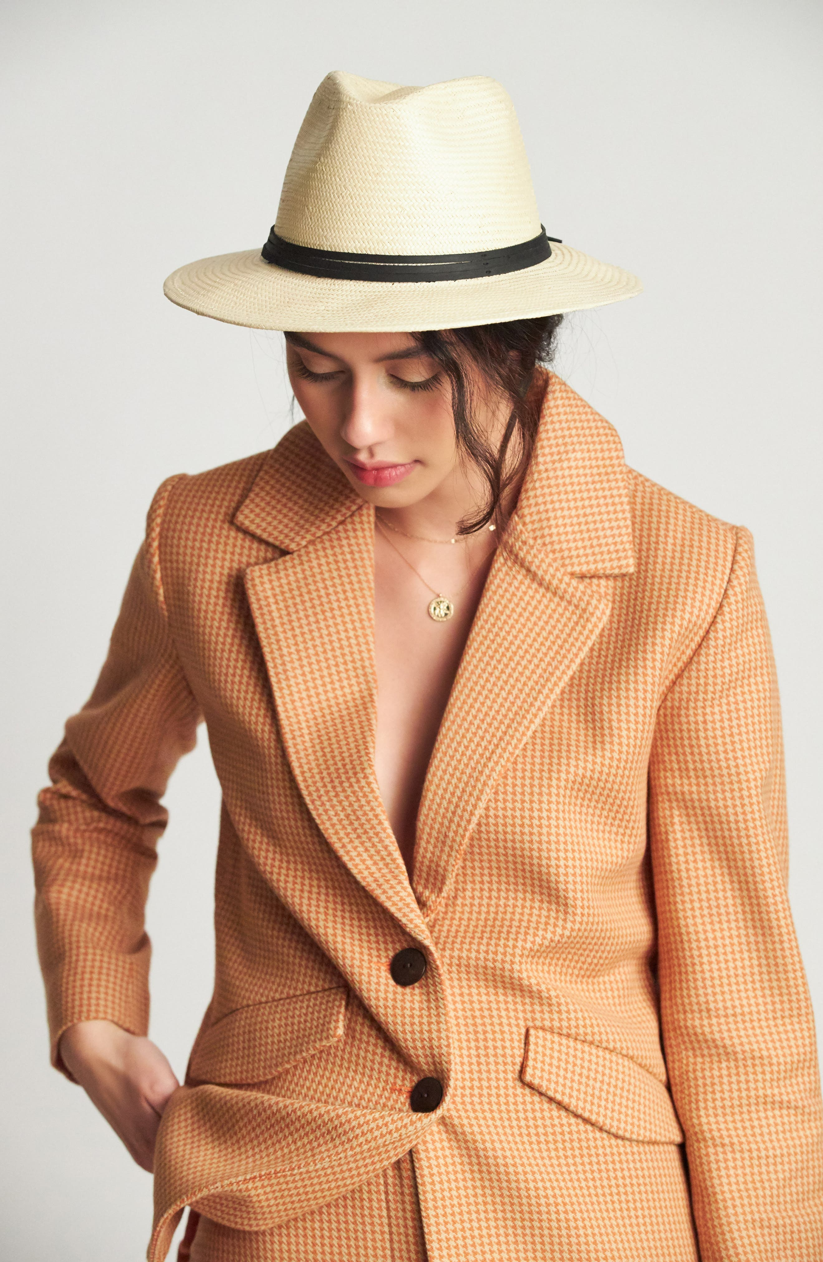 BRIXTON,                             'Pacific' Straw Fedora,                             Alternate thumbnail 4, color,                             BEIGE