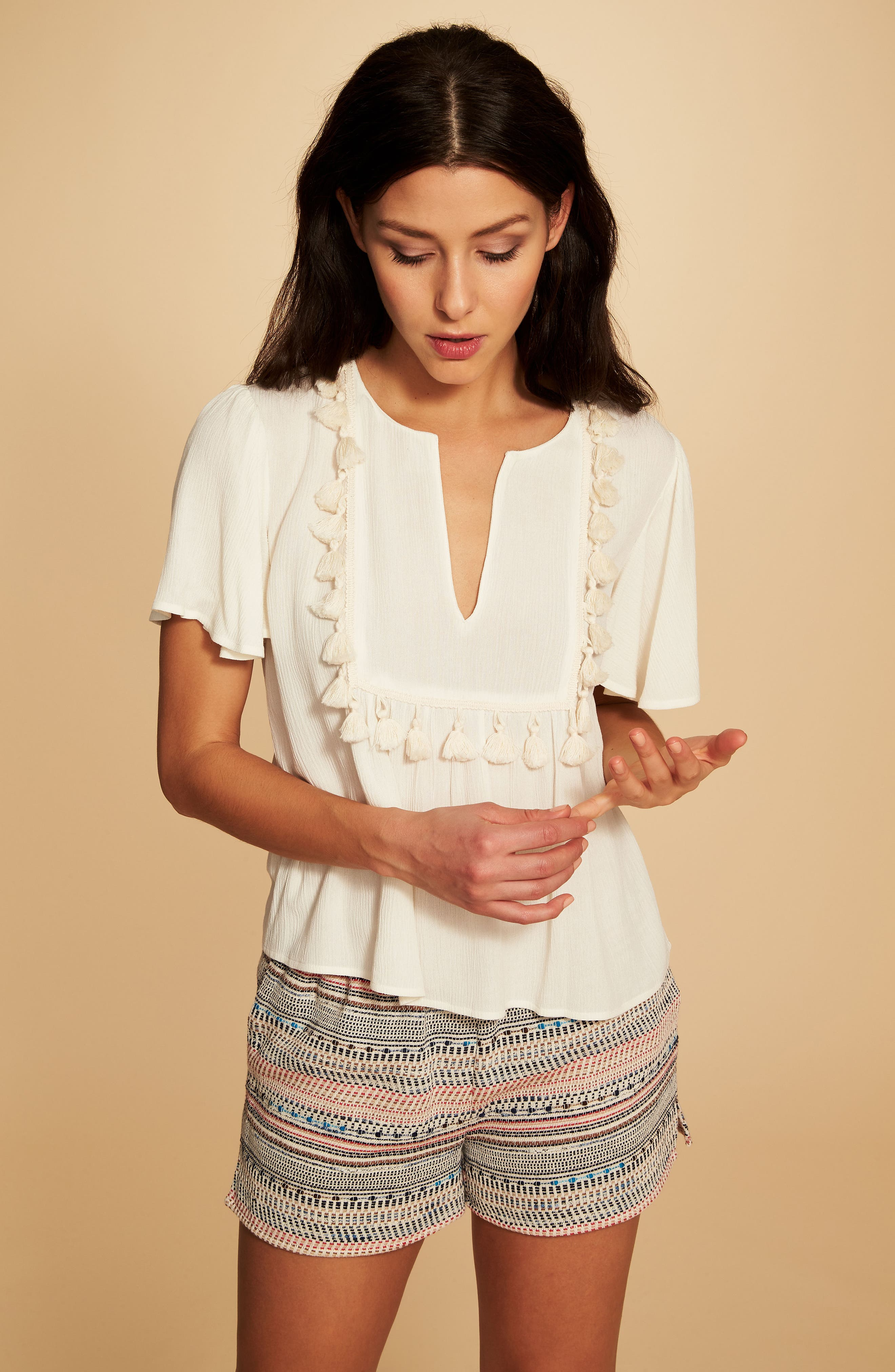 Paperbag Waist Tweed Shorts,                             Alternate thumbnail 5, color,                             908