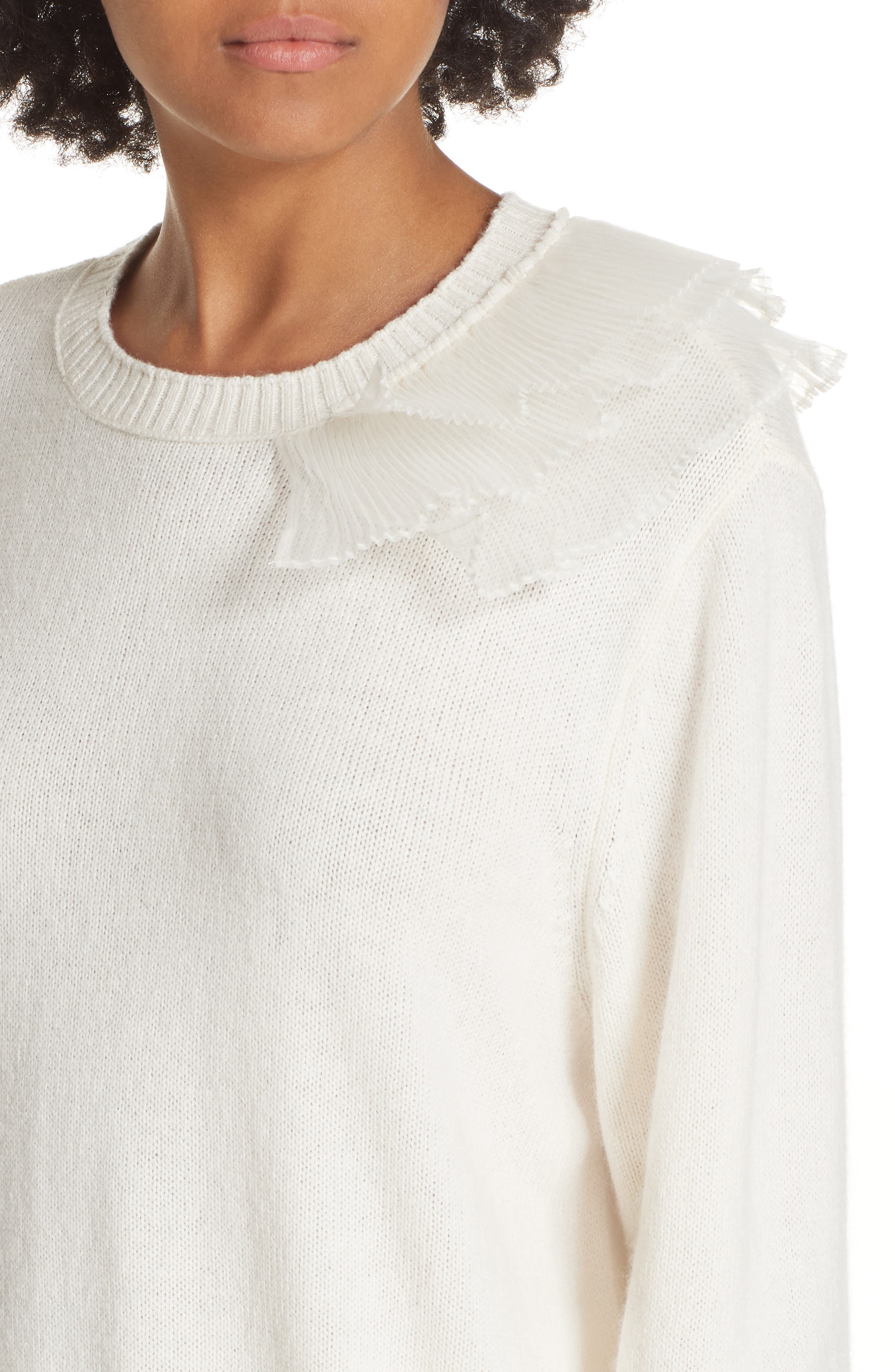 Asymmetric Ruffle Trim Sweater,                             Alternate thumbnail 4, color,                             IVORY