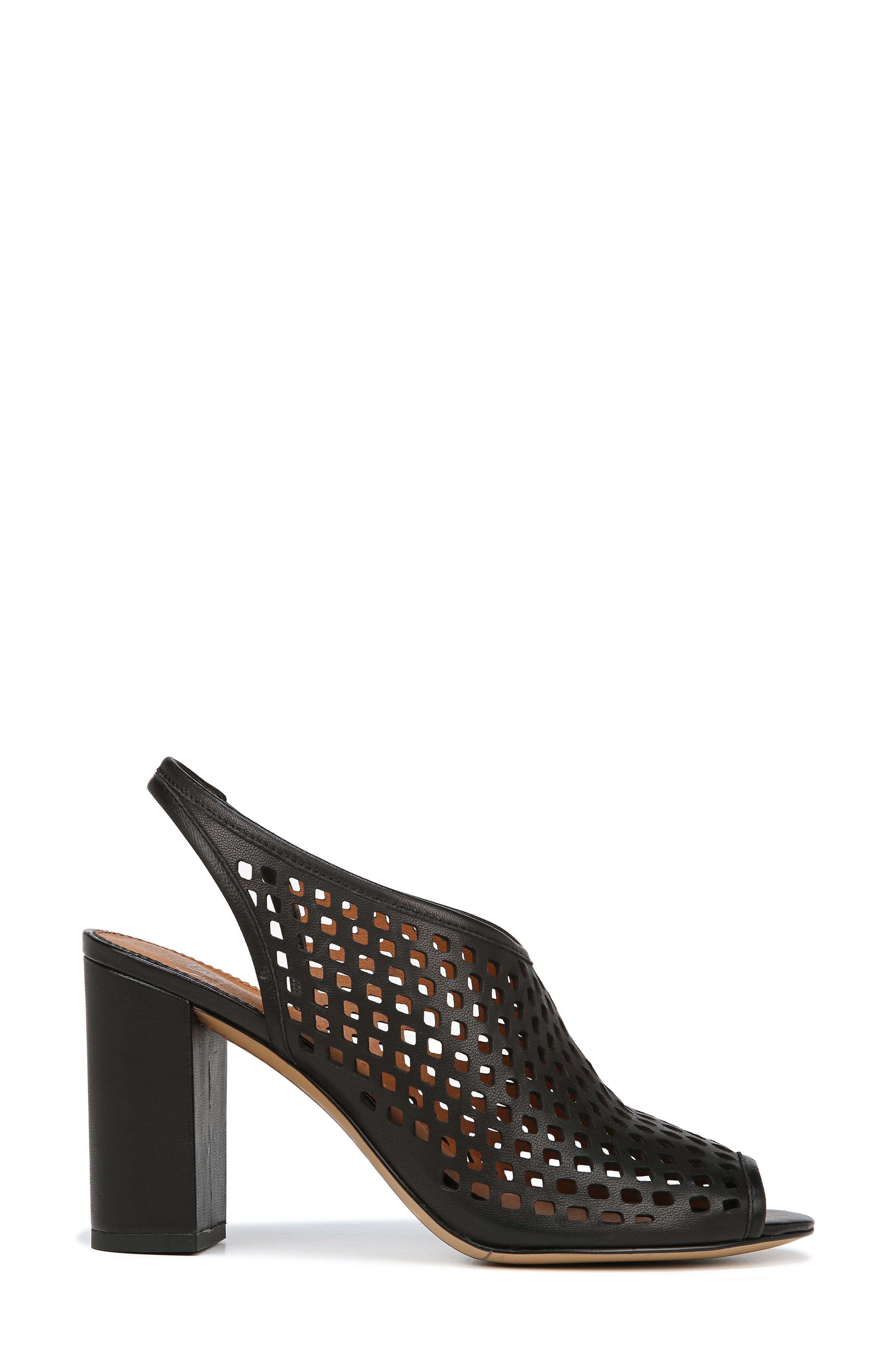 Osbourne Perforated Slingback Sandal,                             Alternate thumbnail 3, color,                             BLACK LEATHER