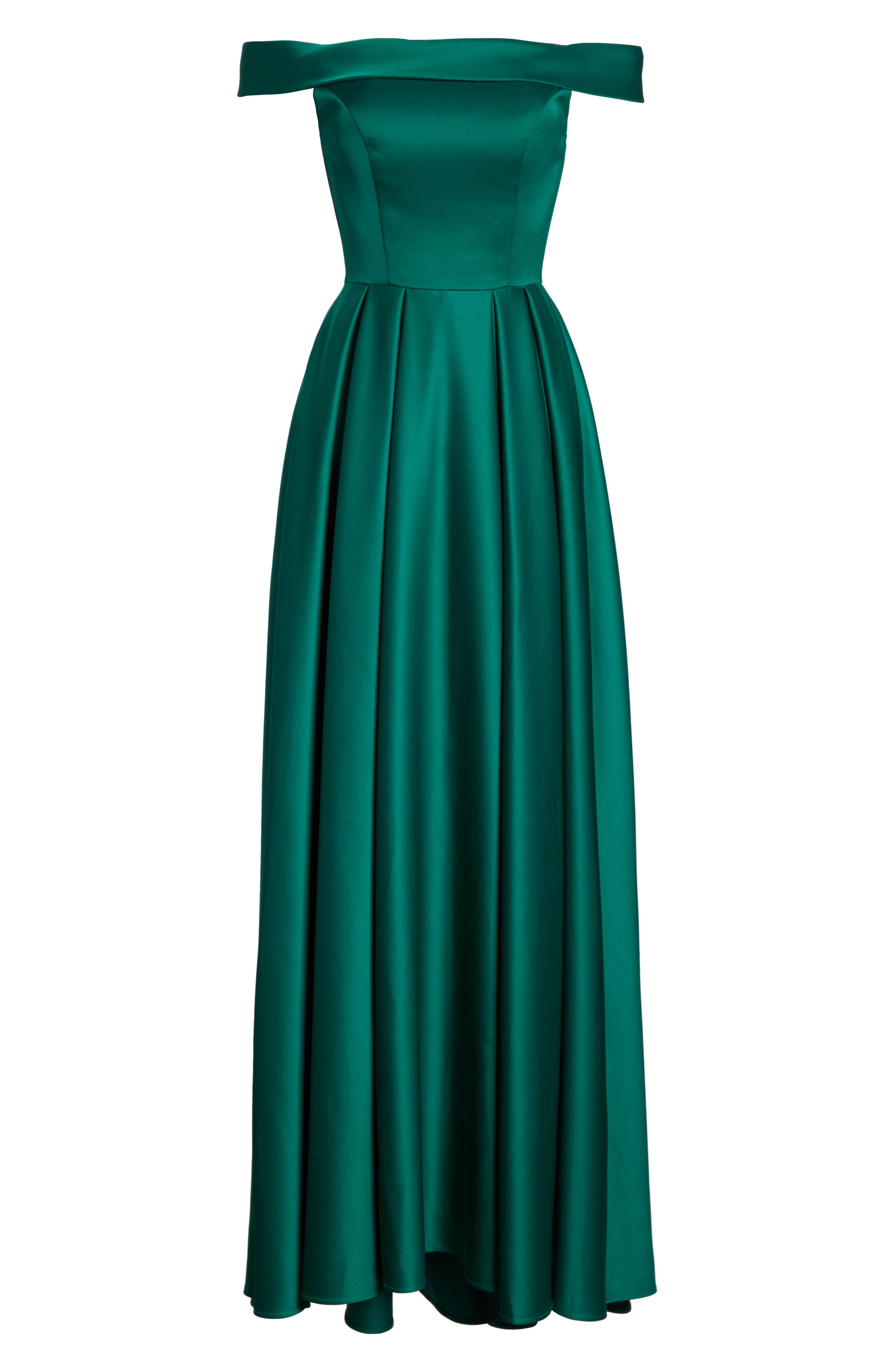 Mikado Off the Shoulder Gown,                             Alternate thumbnail 6, color,                             EMERALD