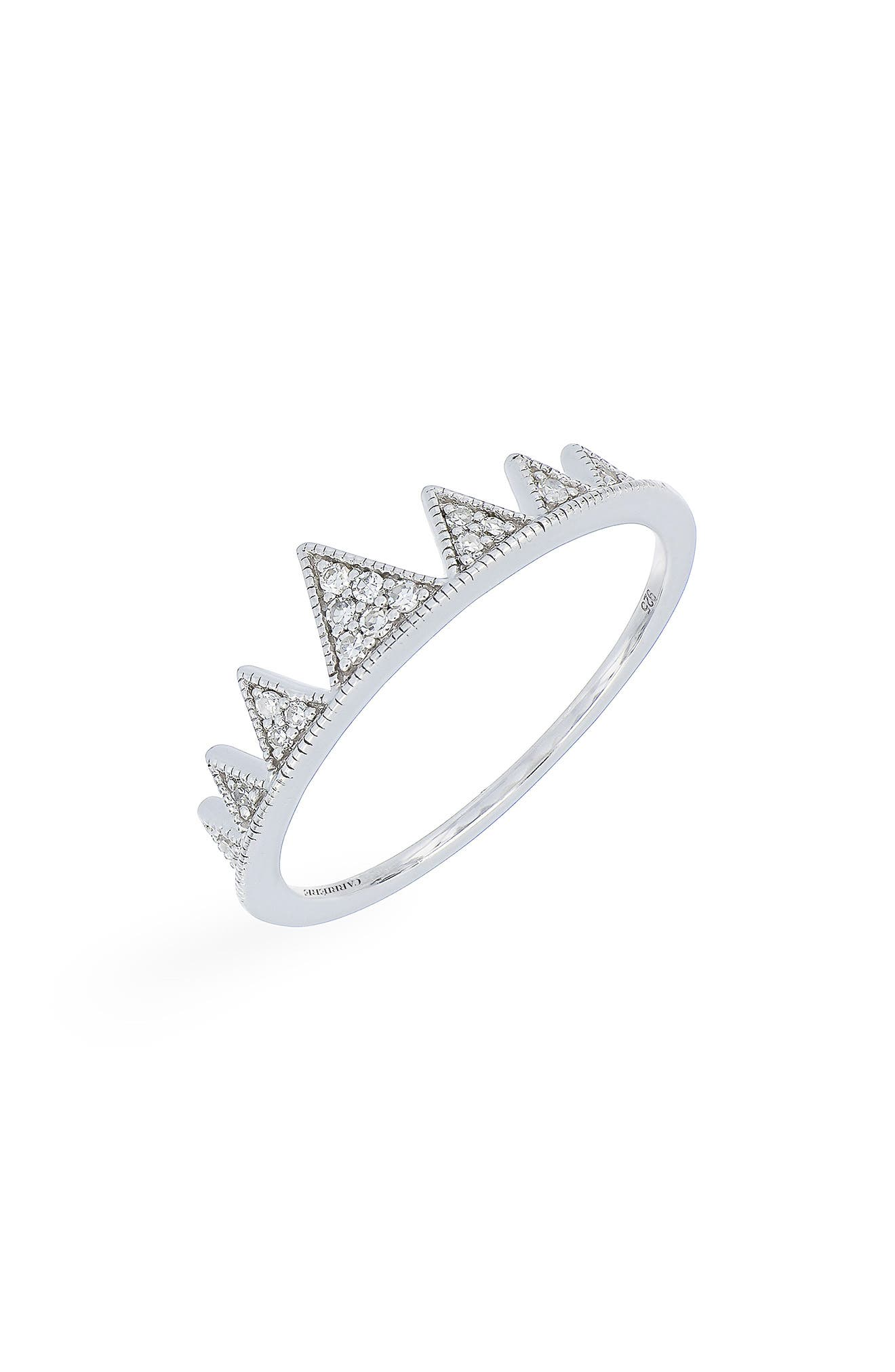 Carrière Diamond Crown Ring,                             Main thumbnail 1, color,                             STERLING SILVER/ DIAMOND
