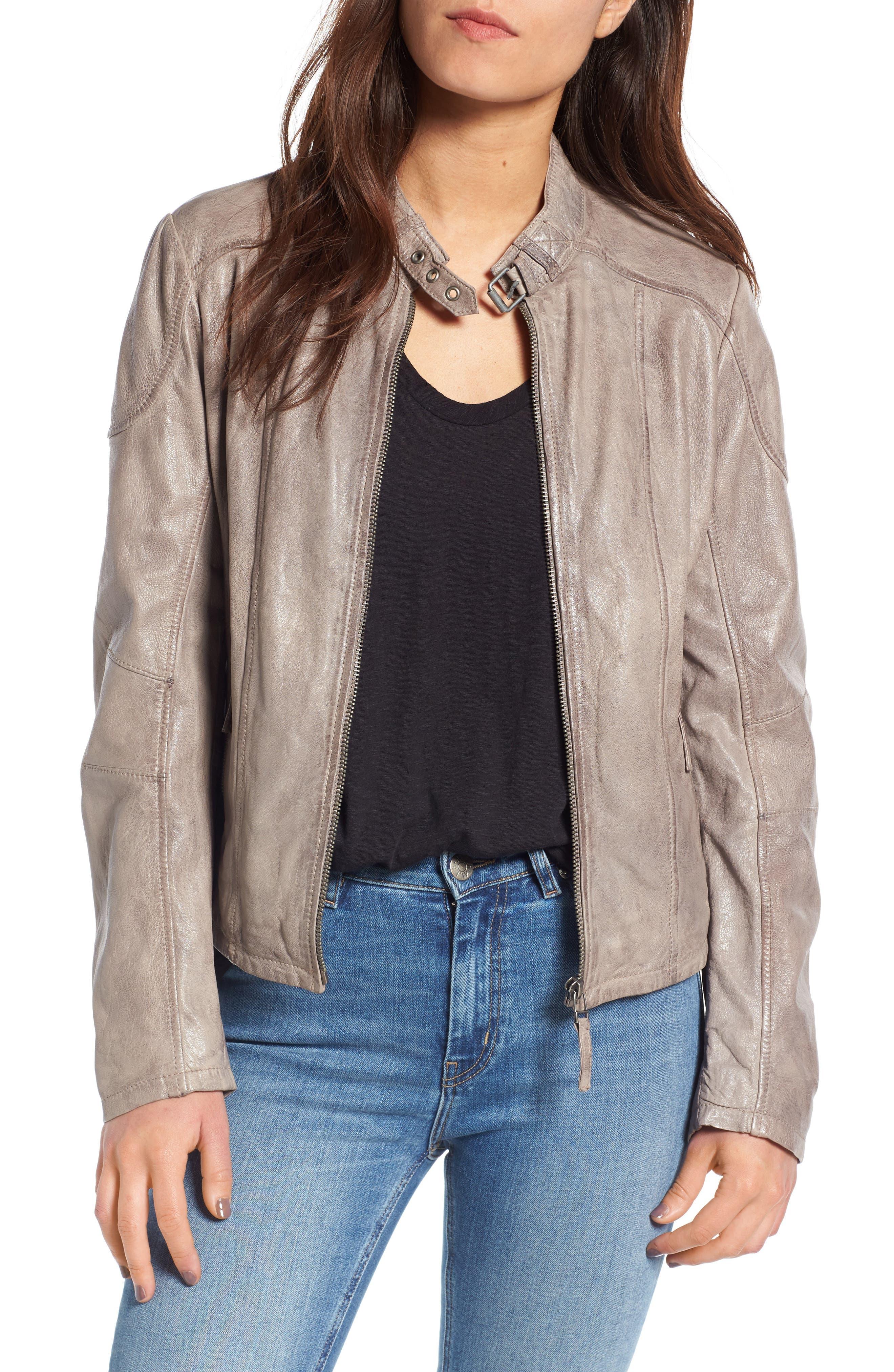 Leather Moto Jacket,                             Main thumbnail 1, color,                             020