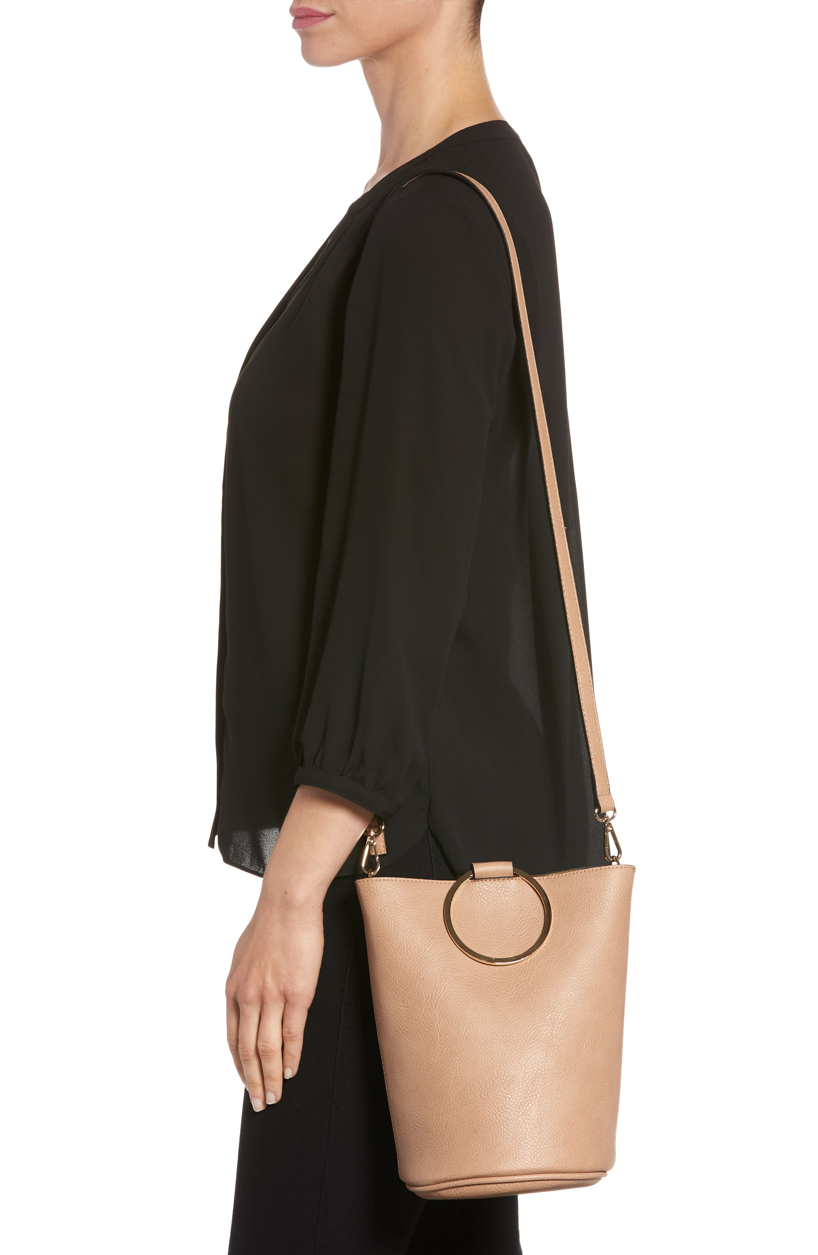 Mali + Lili Ilia Vegan Leather Ring Handle Bucket Bag,                             Alternate thumbnail 5, color,