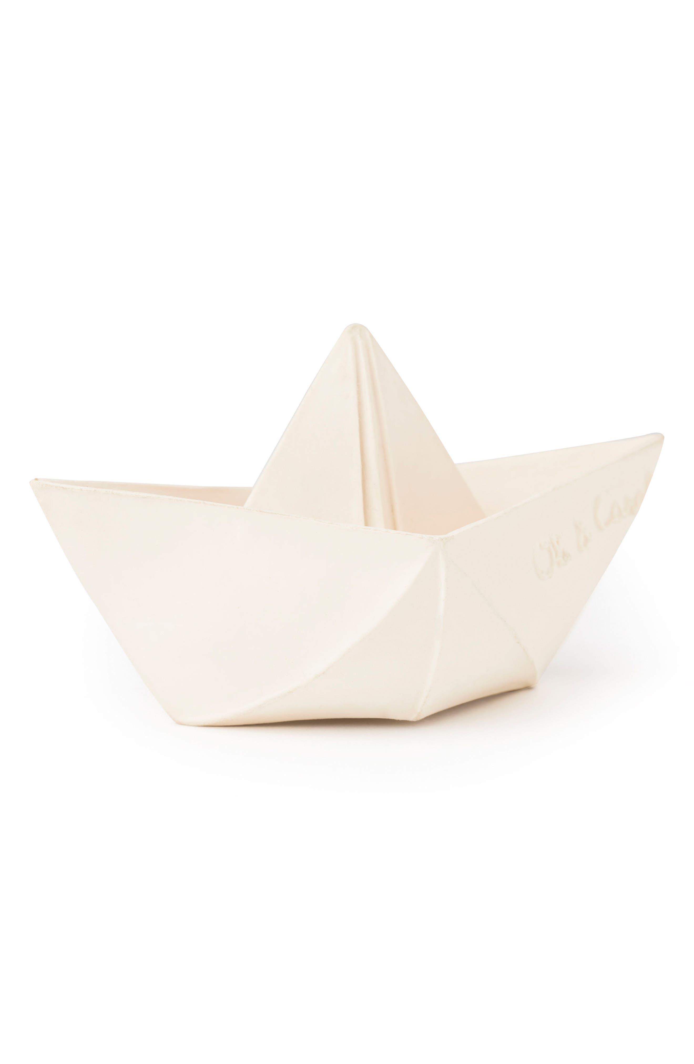 Origami Boat Bath Toy,                         Main,                         color, WHITE