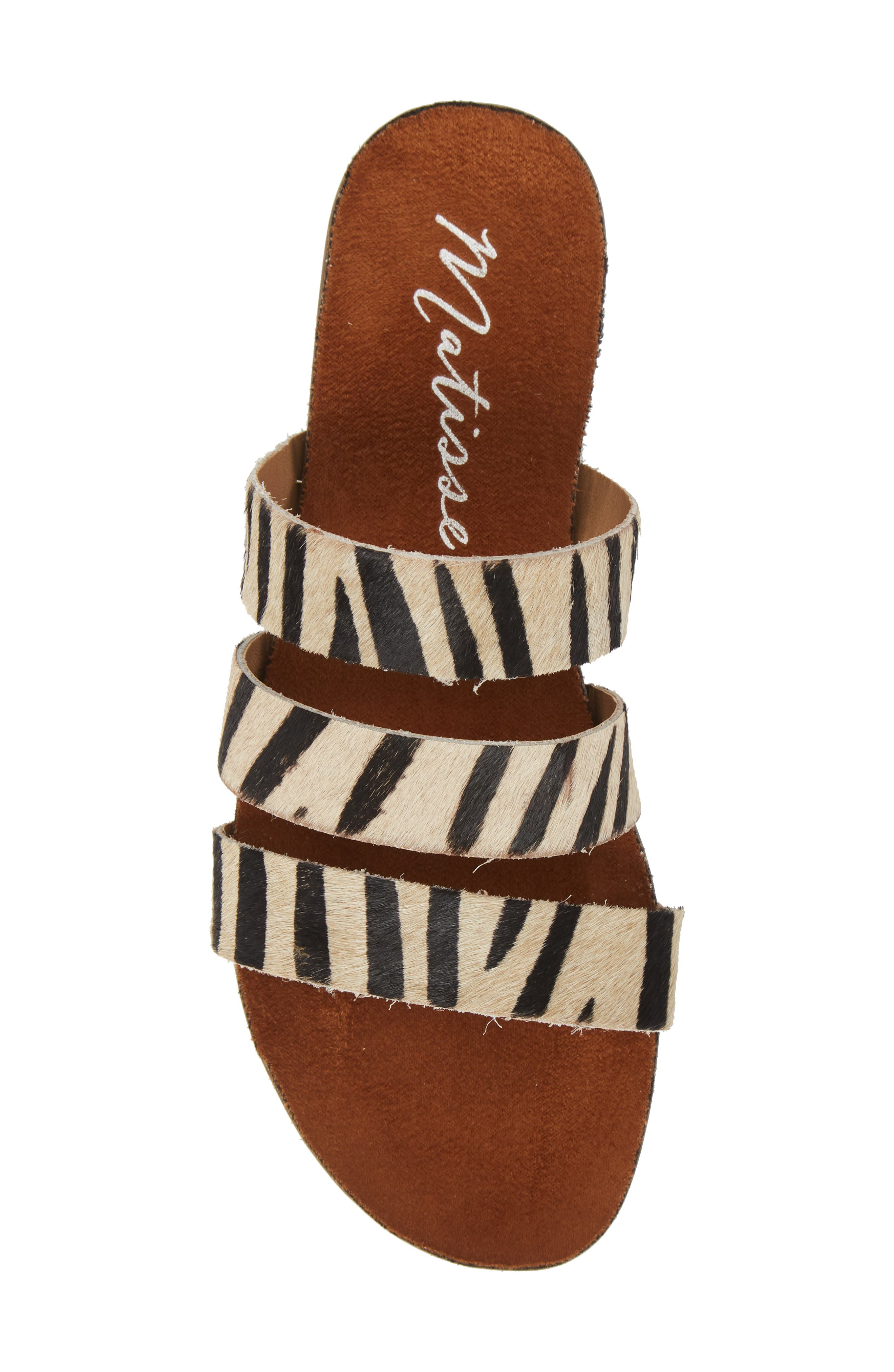 Florence Slide Sandal,                             Alternate thumbnail 5, color,                             ZEBRA CALF HAIR