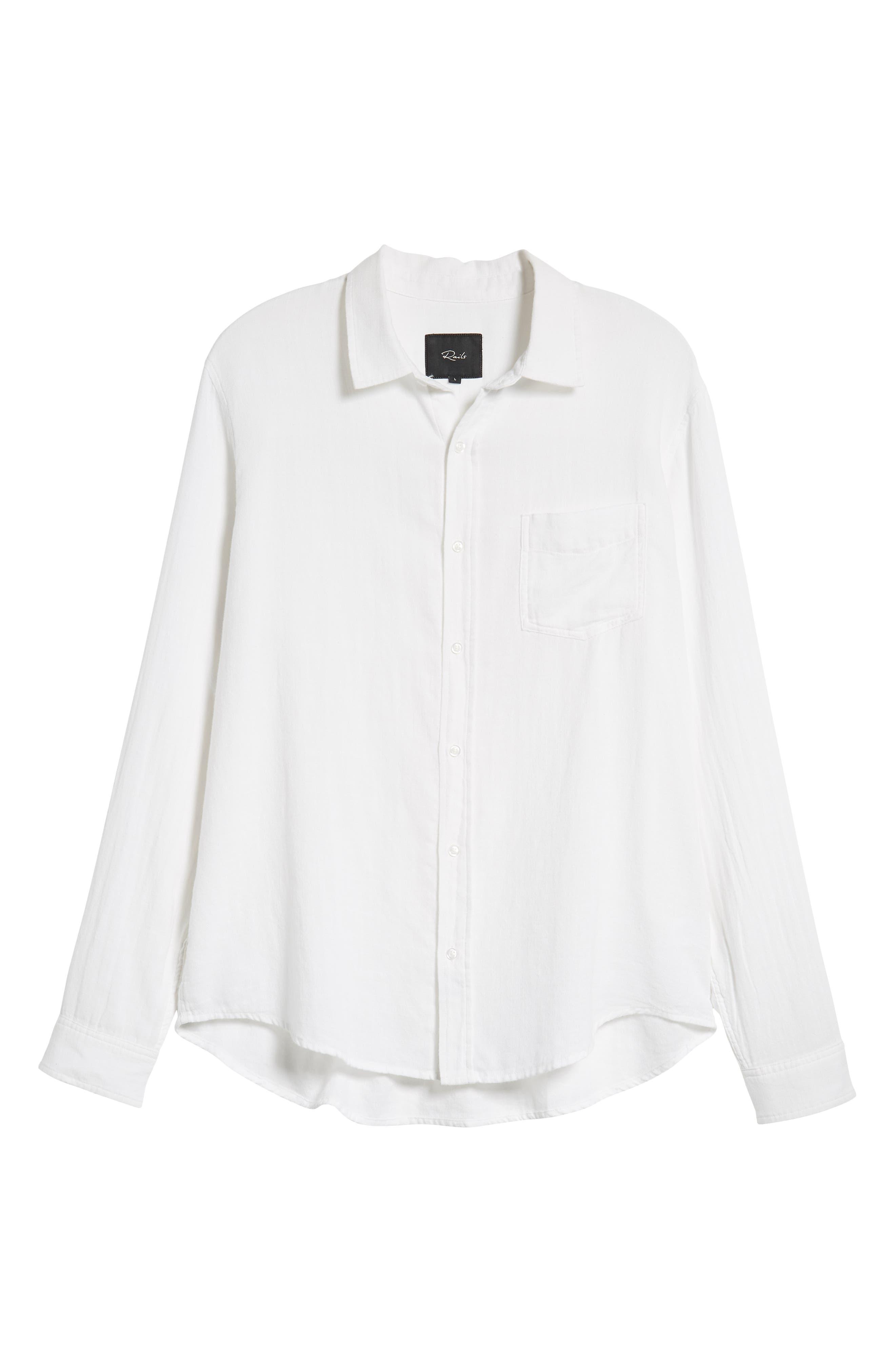 Wyatt Regular Fit Woven Shirt,                             Alternate thumbnail 5, color,                             WHITE