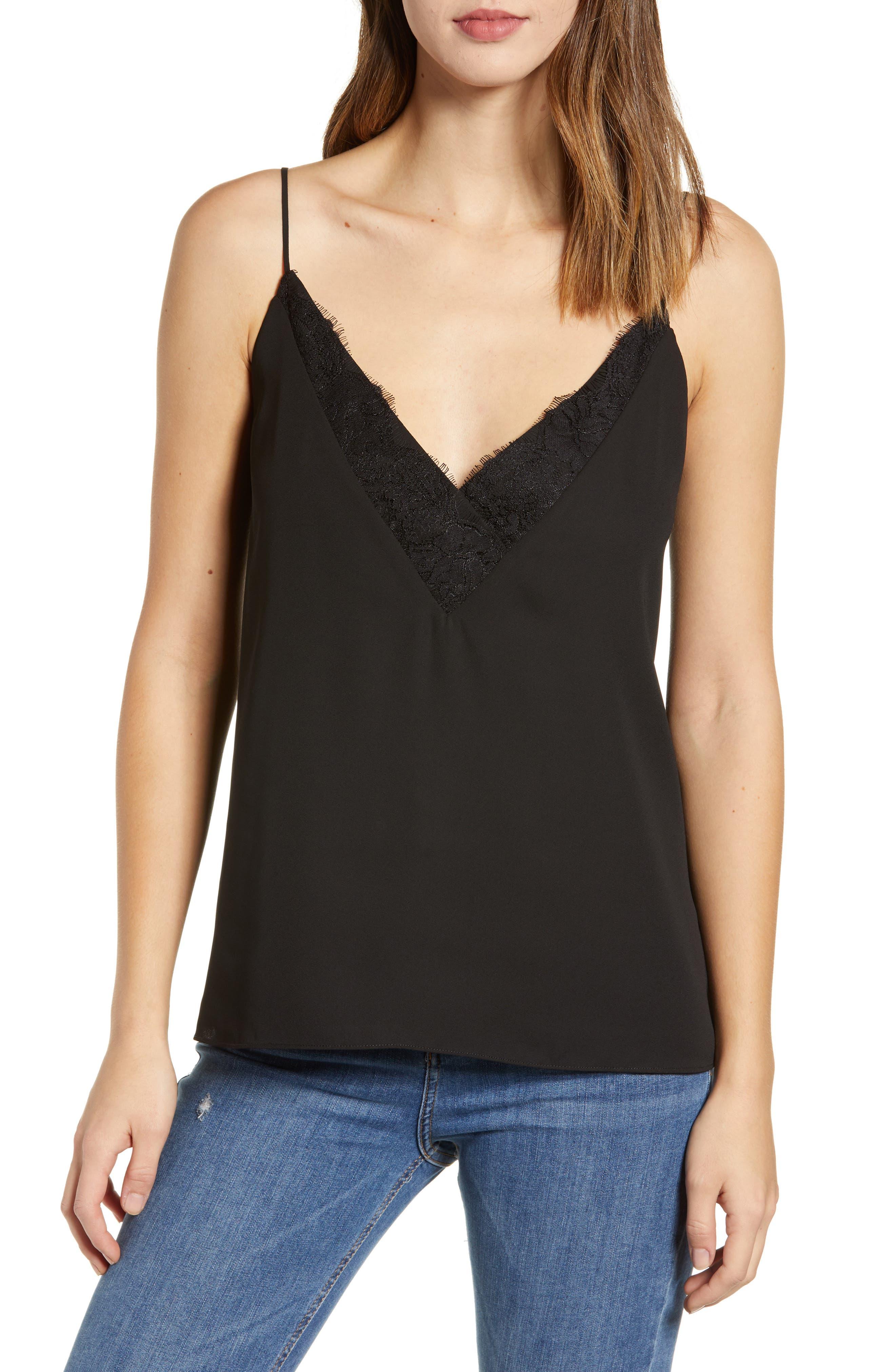 SOCIALITE Lace Trim Camisole Top, Main, color, BLACK
