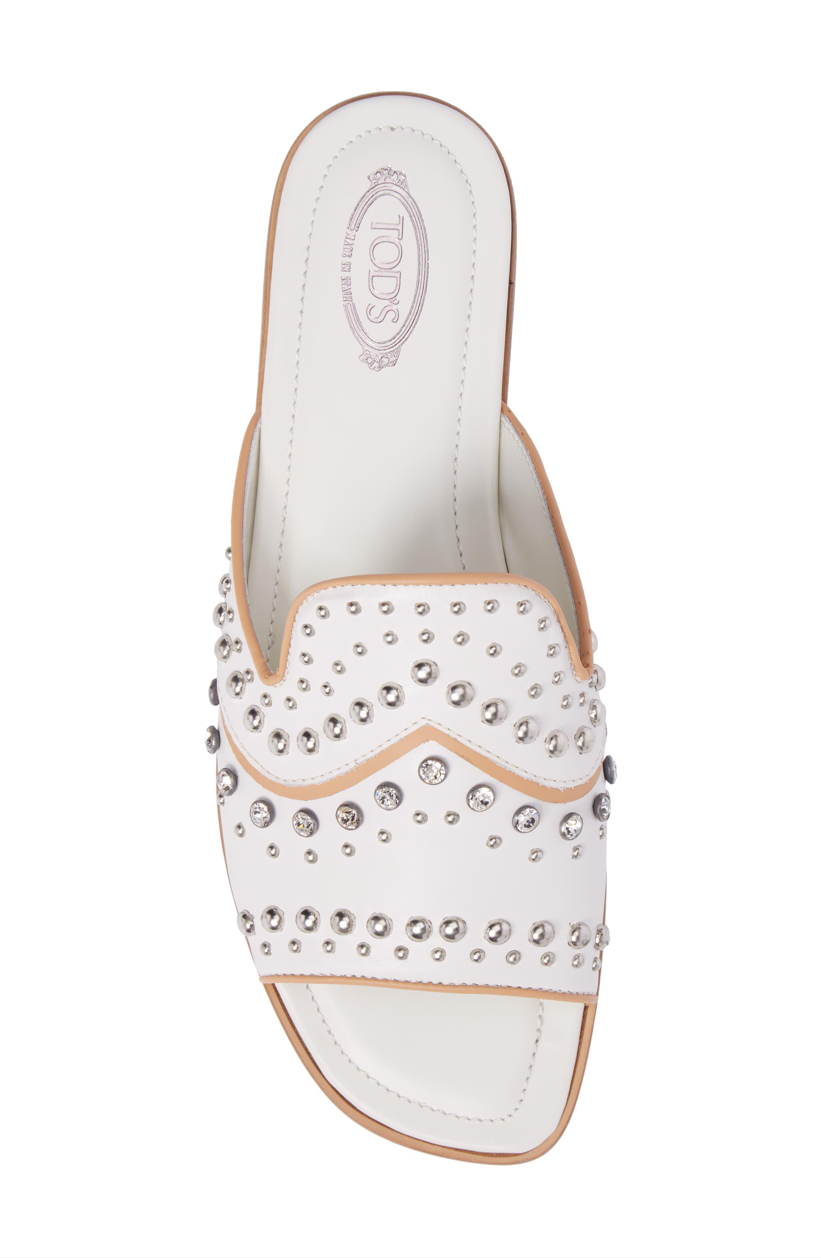 TOD'S,                             Crystal Embellished Loafer Mule,                             Alternate thumbnail 5, color,                             100