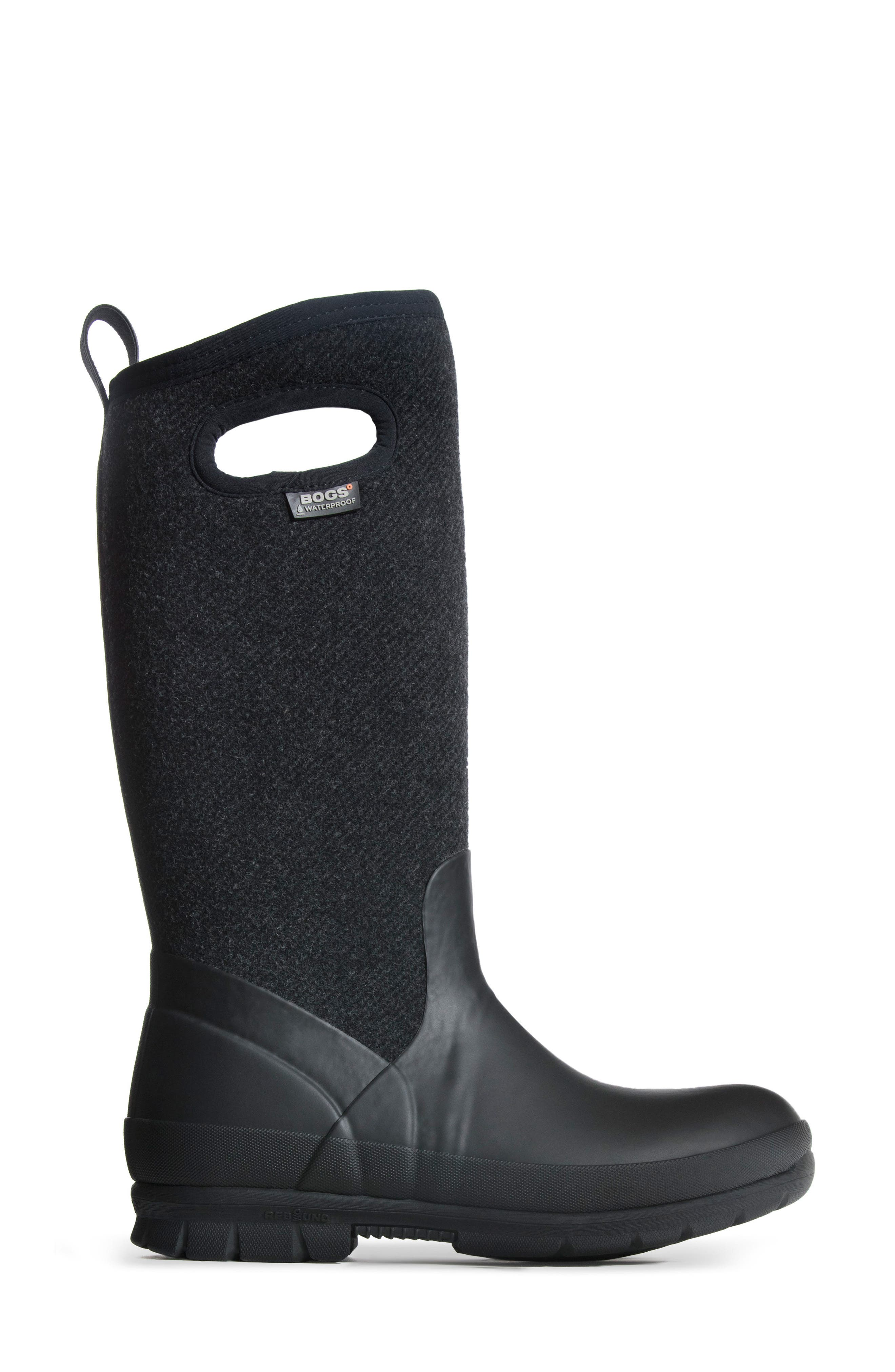 Crandall Waterproof Tall Boot,                             Alternate thumbnail 3, color,                             001