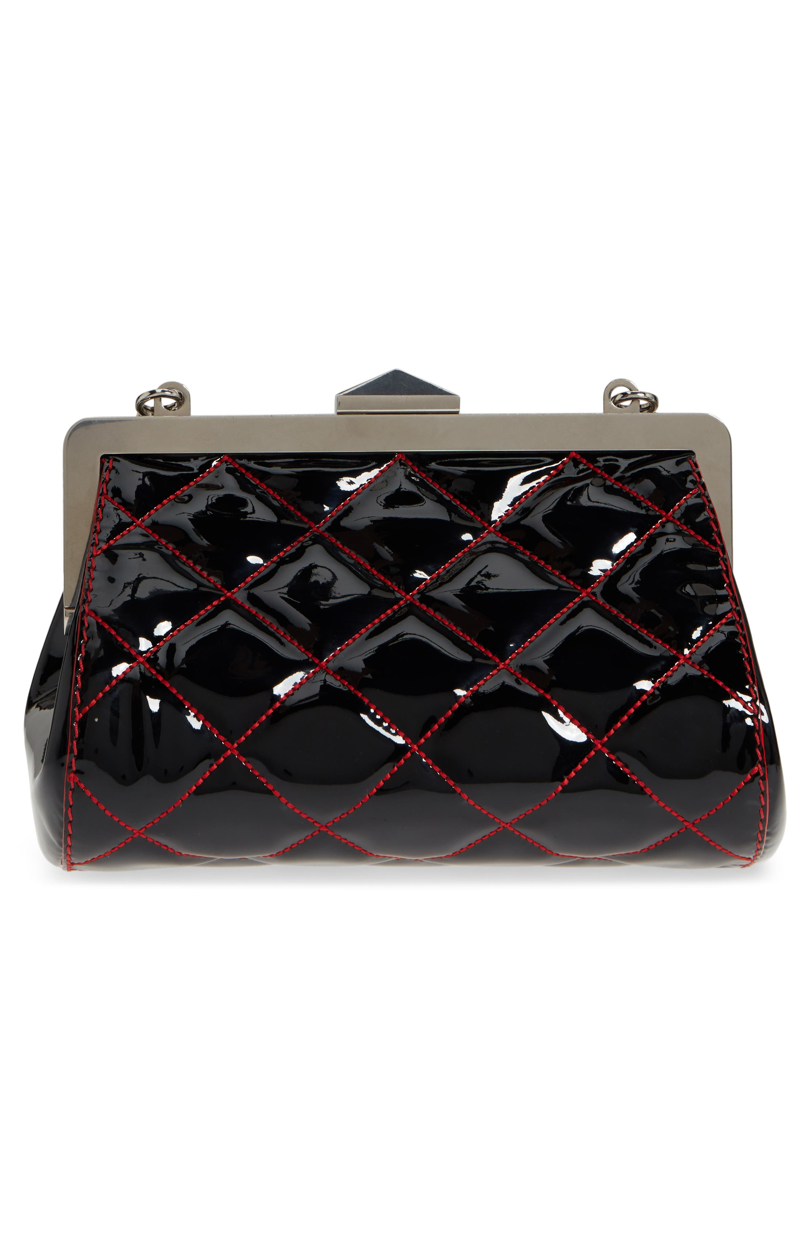 Quilted Patent Leather Frame Clutch,                             Alternate thumbnail 4, color,                             BLACK/ LUST RED