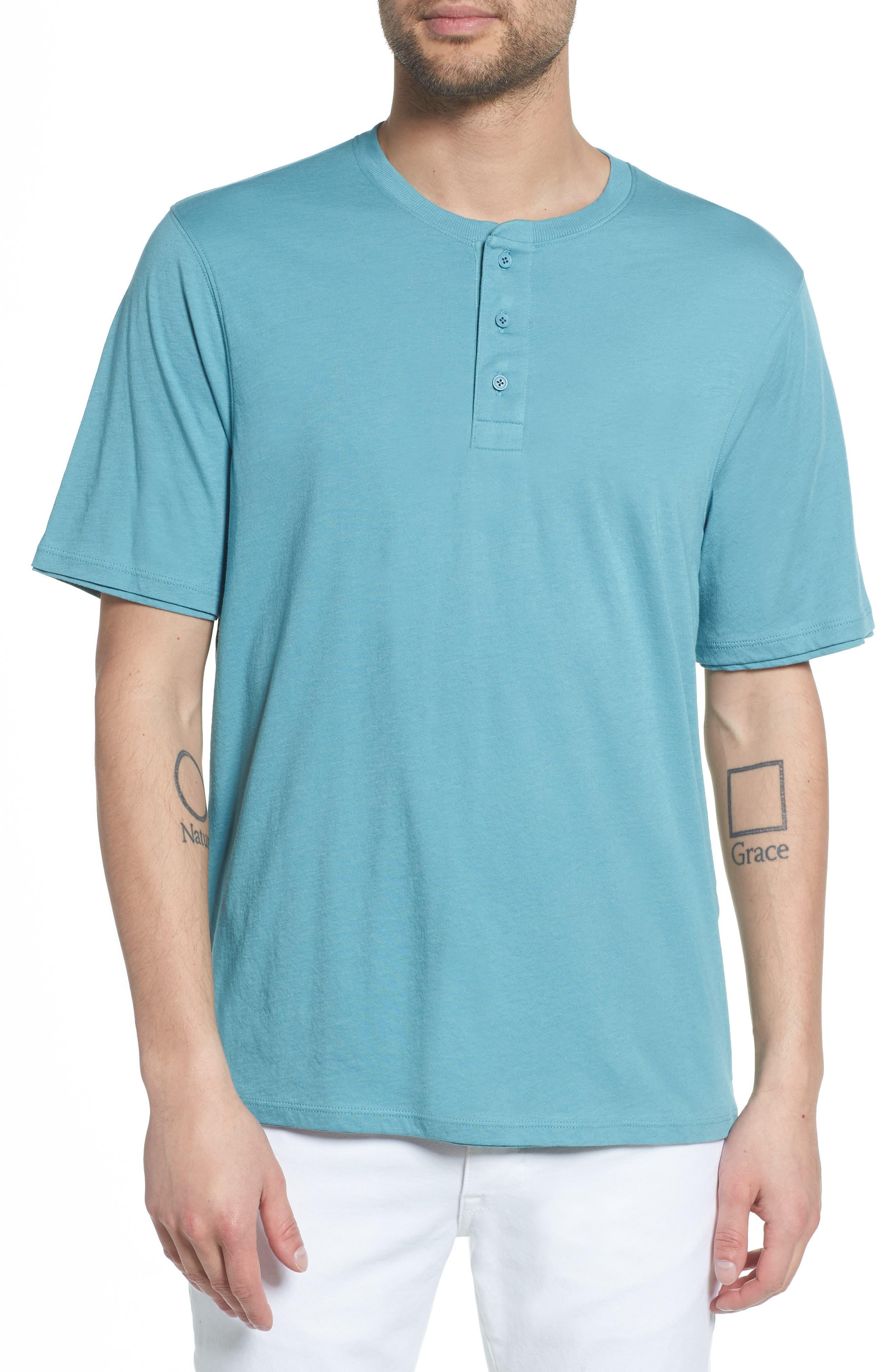 Layered Henley T-Shirt,                         Main,                         color, HARBOR