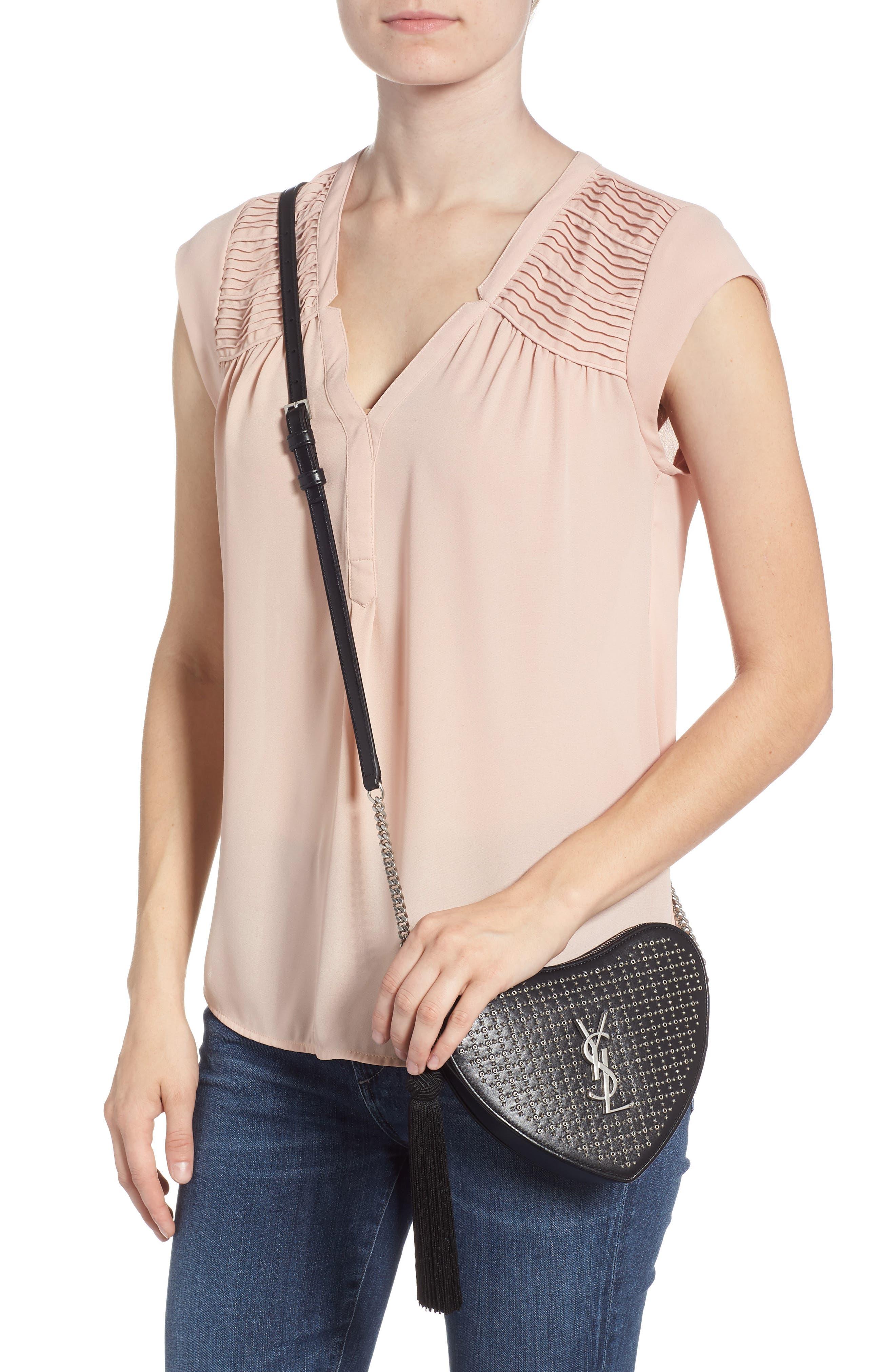 Sac Coeur Studded Leather Crossbody Bag,                             Alternate thumbnail 2, color,                             NOIR/ NOIR