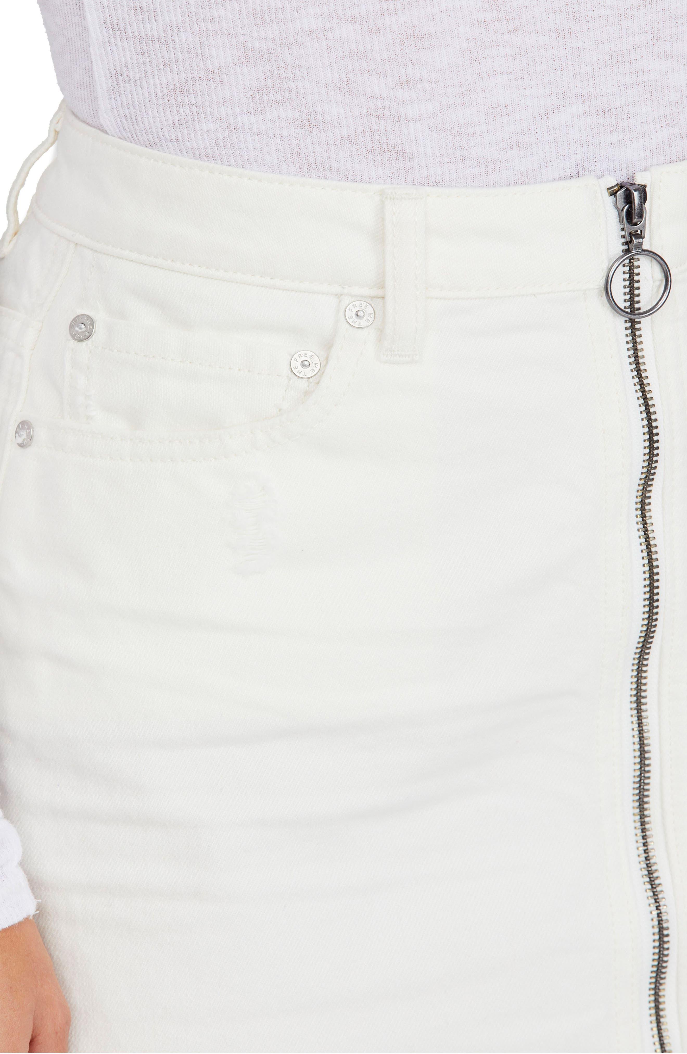 FREE PEOPLE,                             Zip It Up Denim Miniskirt,                             Alternate thumbnail 4, color,                             WHITE