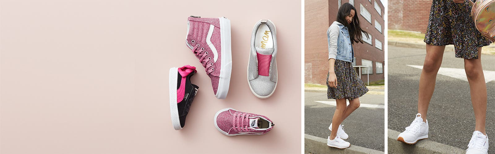 Get their kicks: girls' shoes.