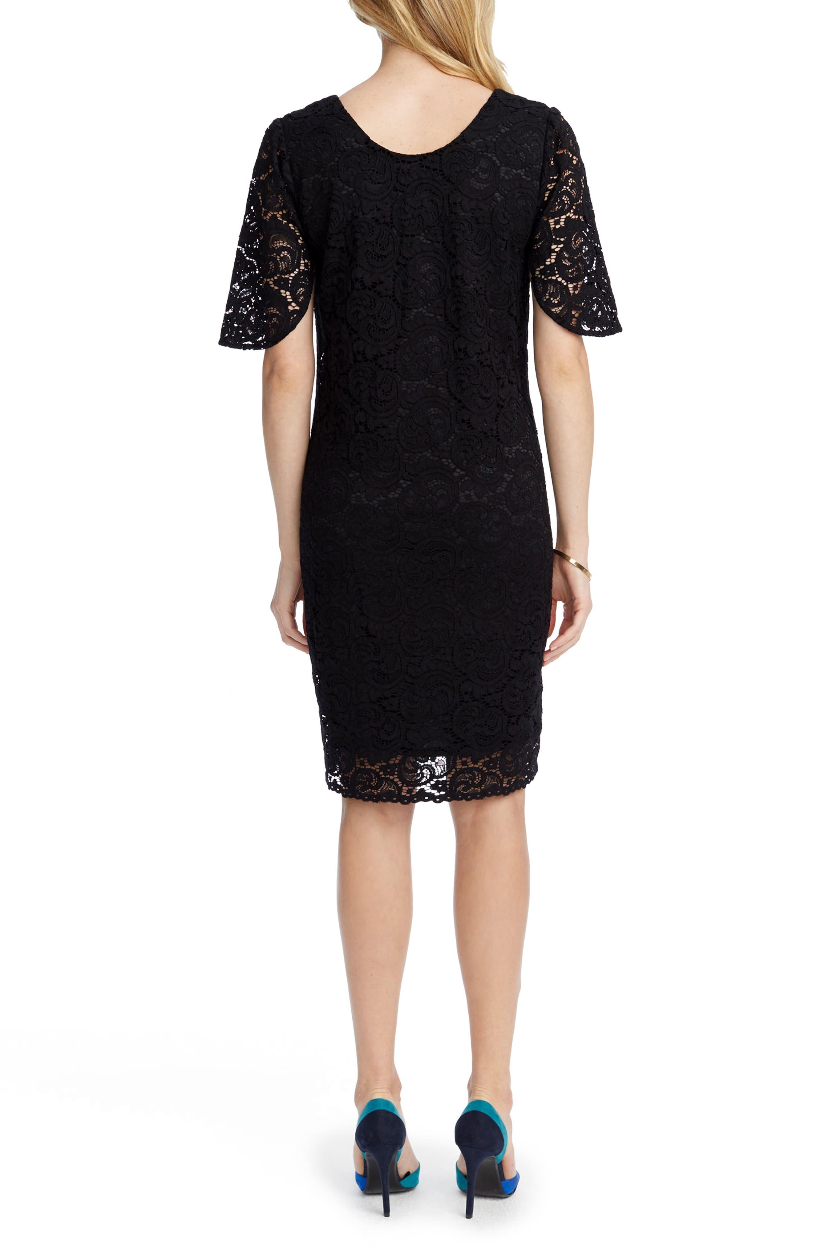 Lainey Lace Maternity Sheath Dress,                             Alternate thumbnail 2, color,                             BLACK