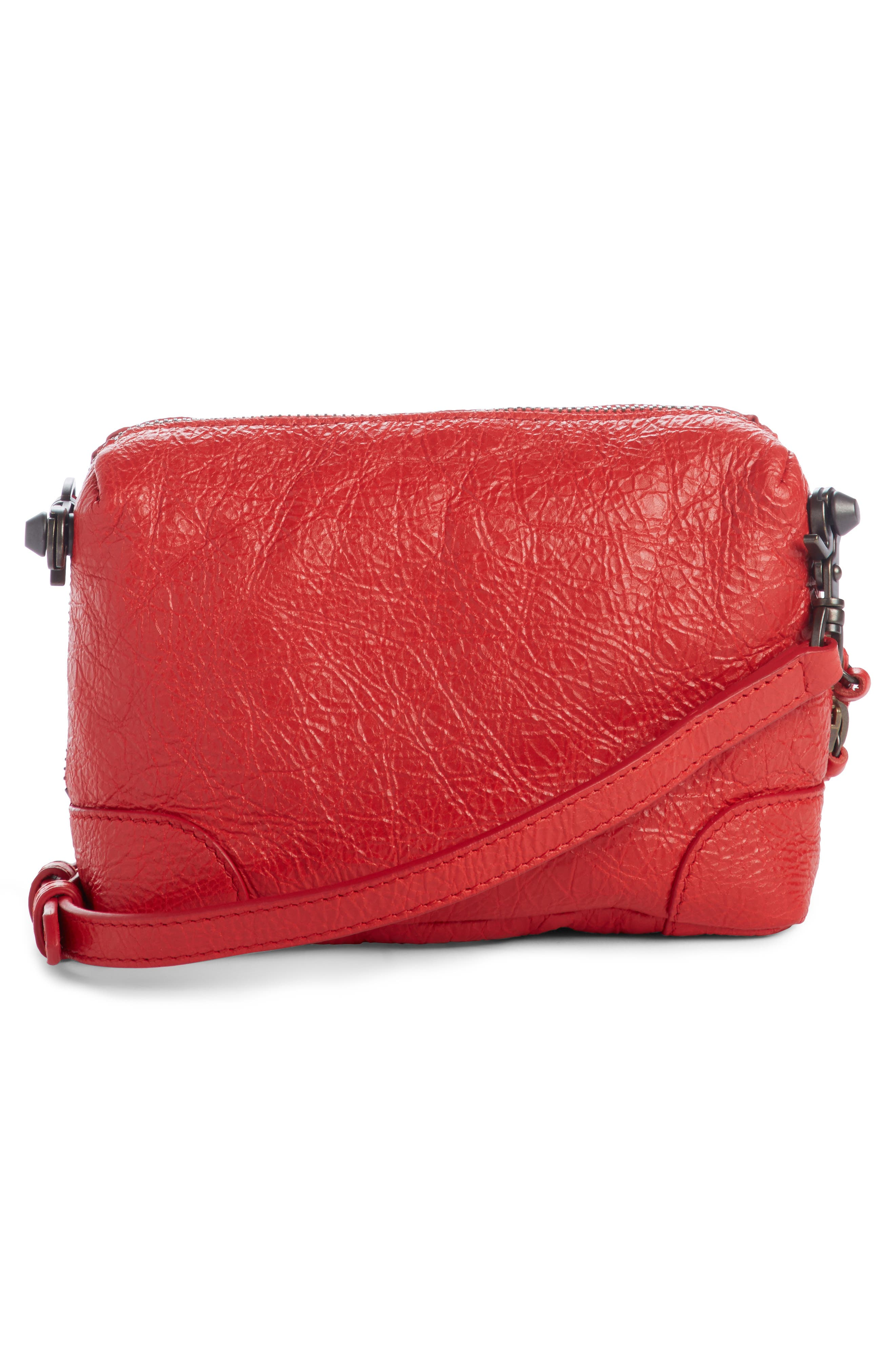 Extra Small Classic Reporter Leather Shoulder Bag,                             Alternate thumbnail 2, color,                             ROUGE TANGO