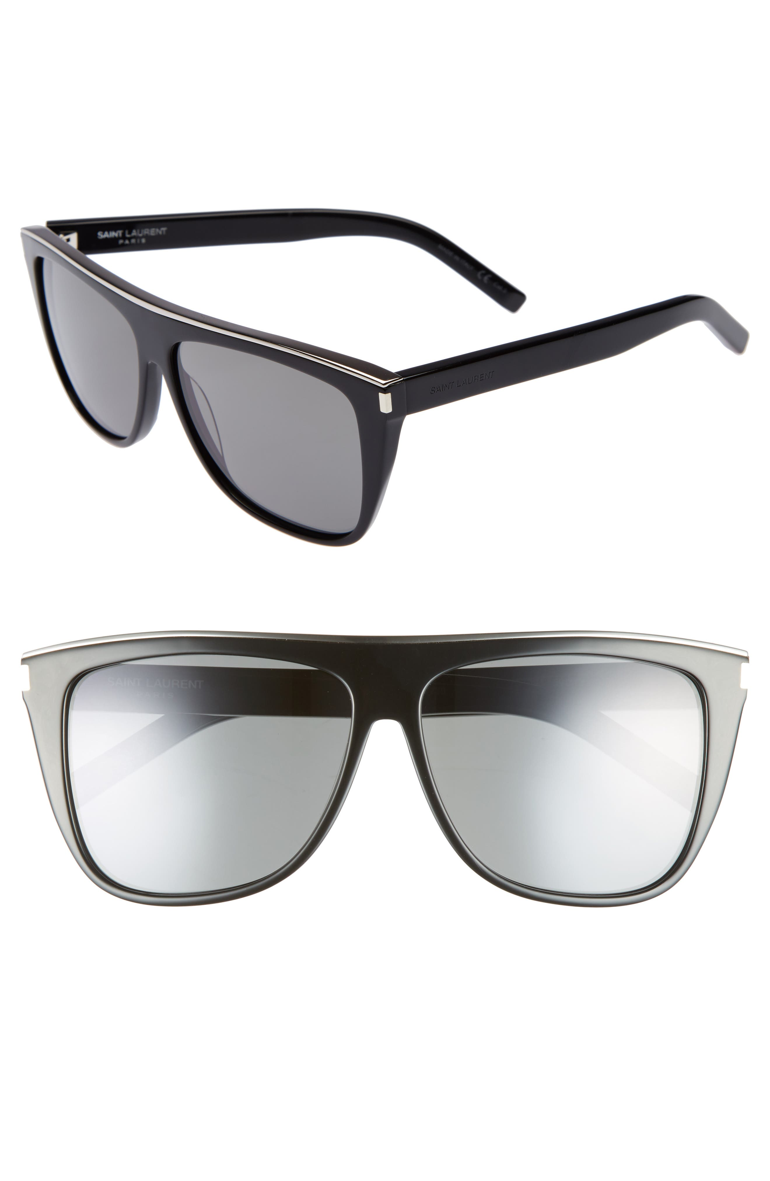 Saint Laurent Combi 5m Flat Top Sunglasses - Black
