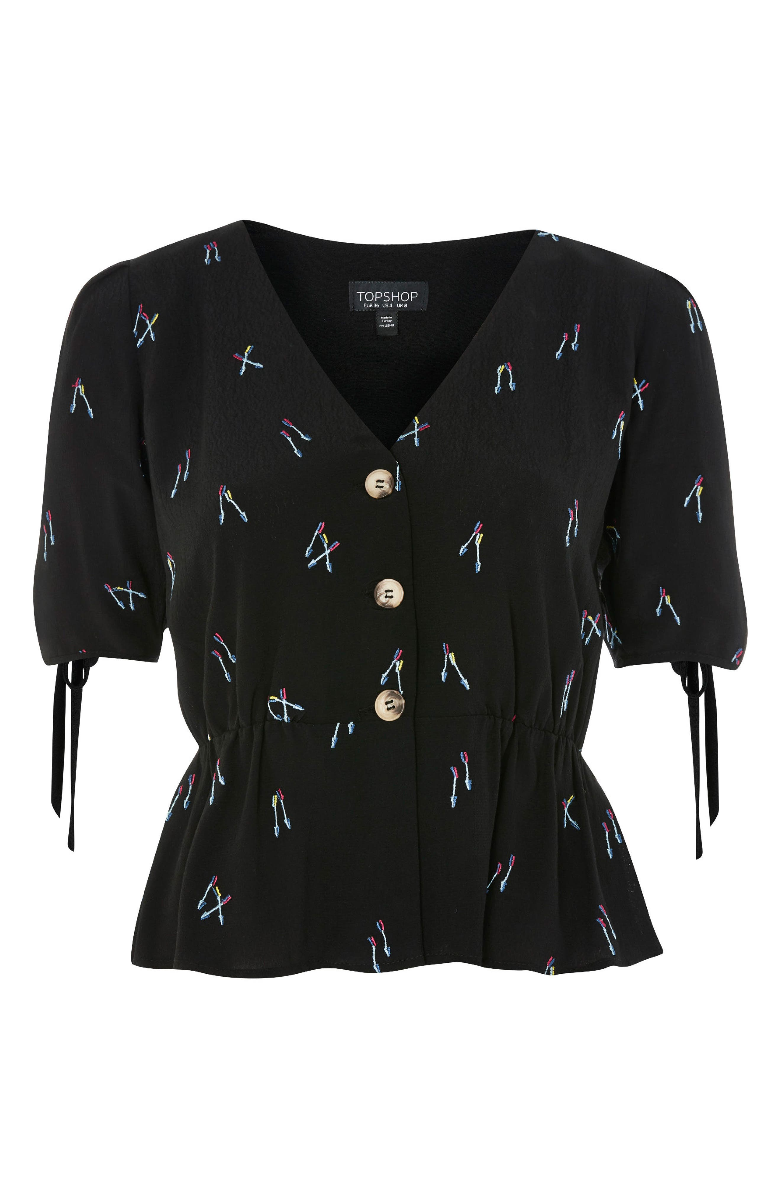 Bryony Arrow Embroidered Blouse,                             Alternate thumbnail 3, color,                             001