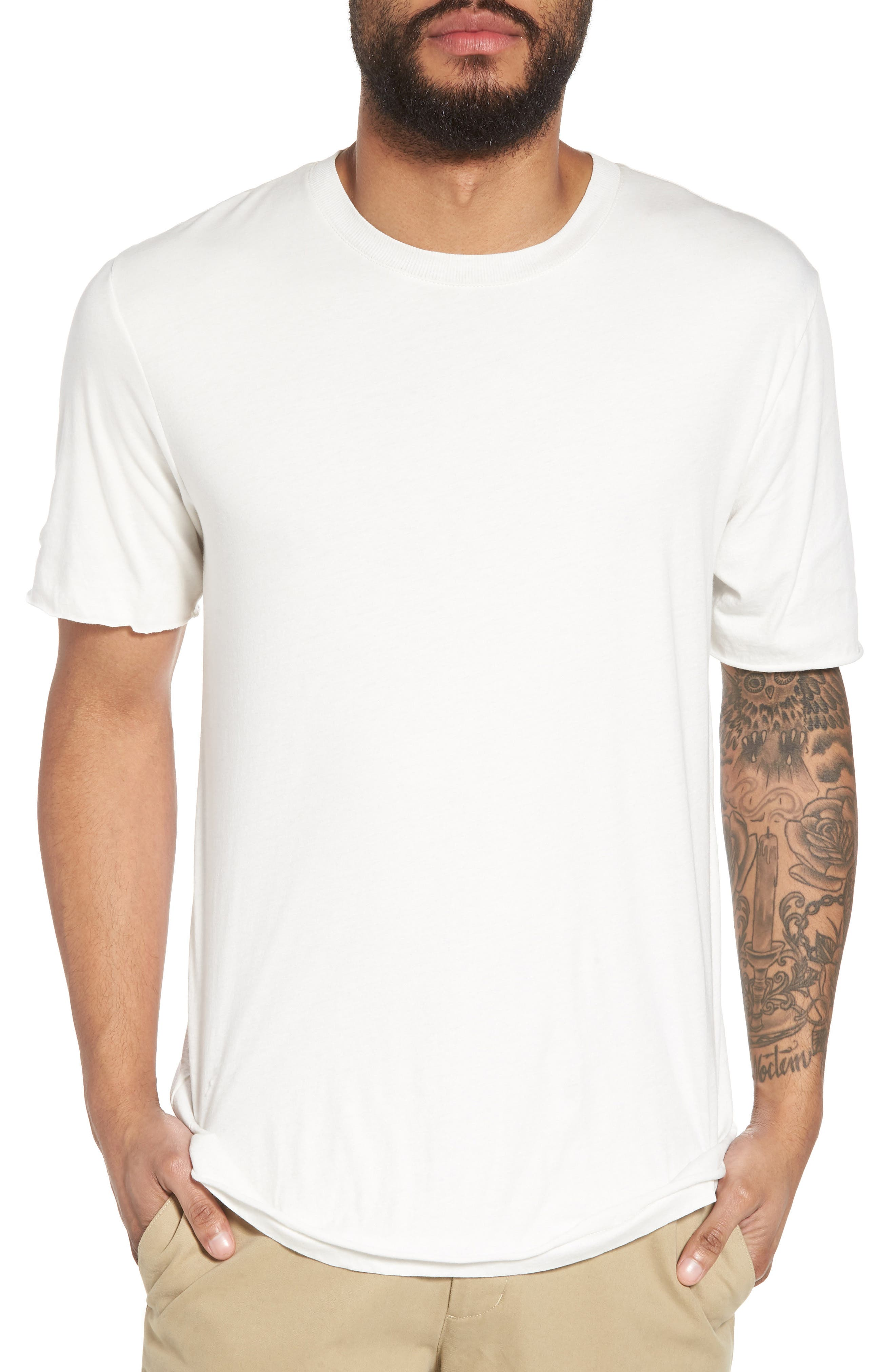 Double Layer Slim Fit T-Shirt,                         Main,                         color, 100