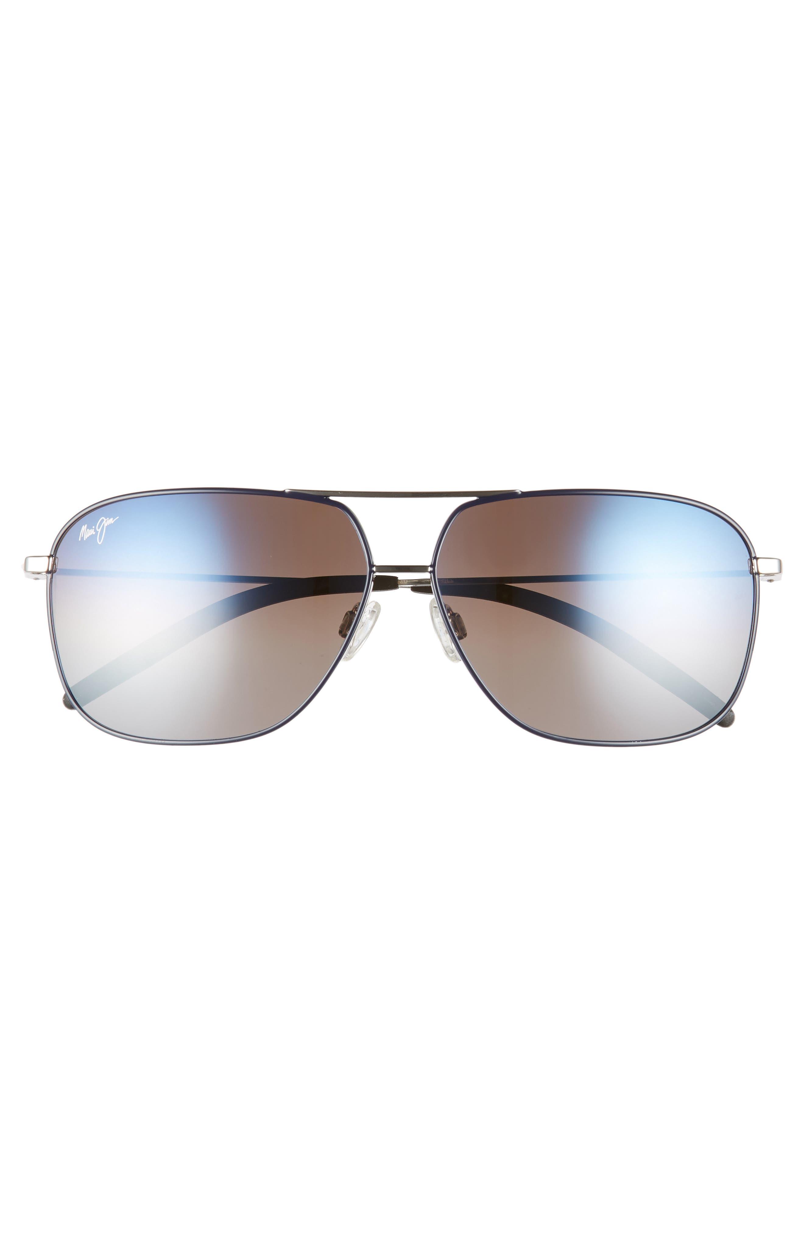 Kami 62mm PolarizedPlus2<sup>®</sup> Aviator Sunglasses,                             Alternate thumbnail 3, color,                             SILVER NAVY BLUE/DUAL MIRR