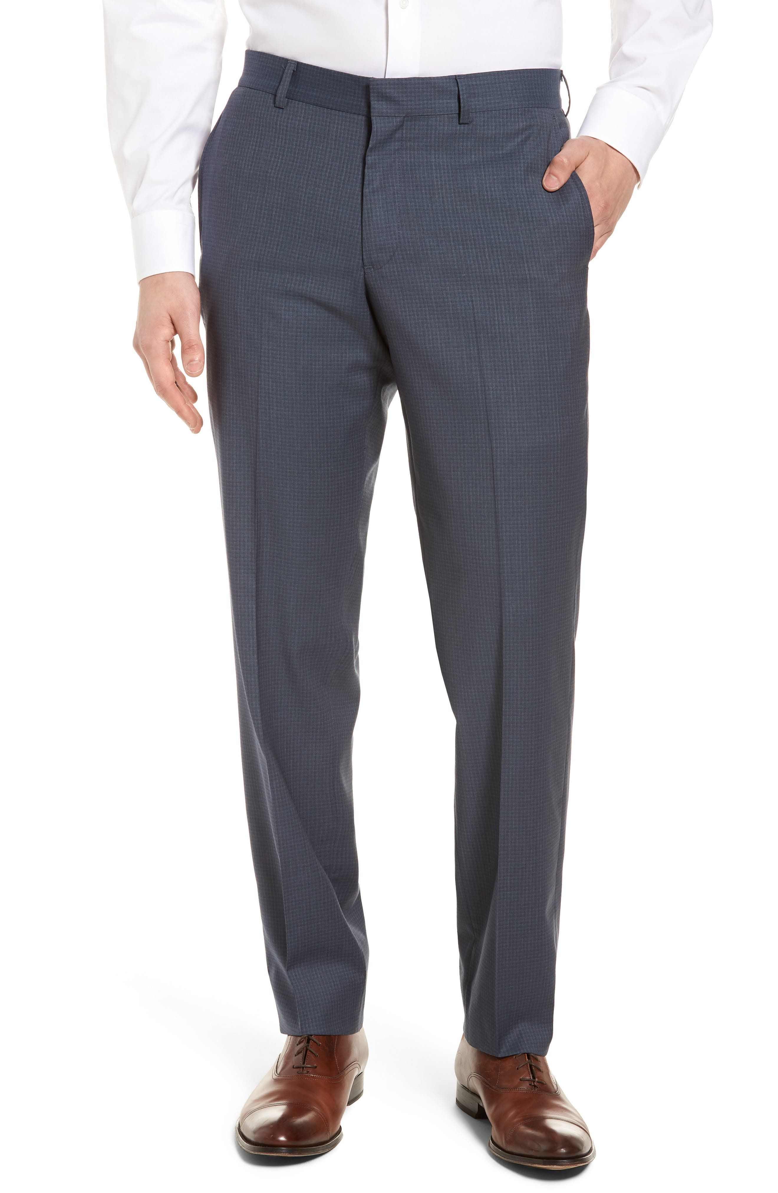 Tech-Smart Check Flat Front Stretch Wool Pants,                         Main,                         color, 030