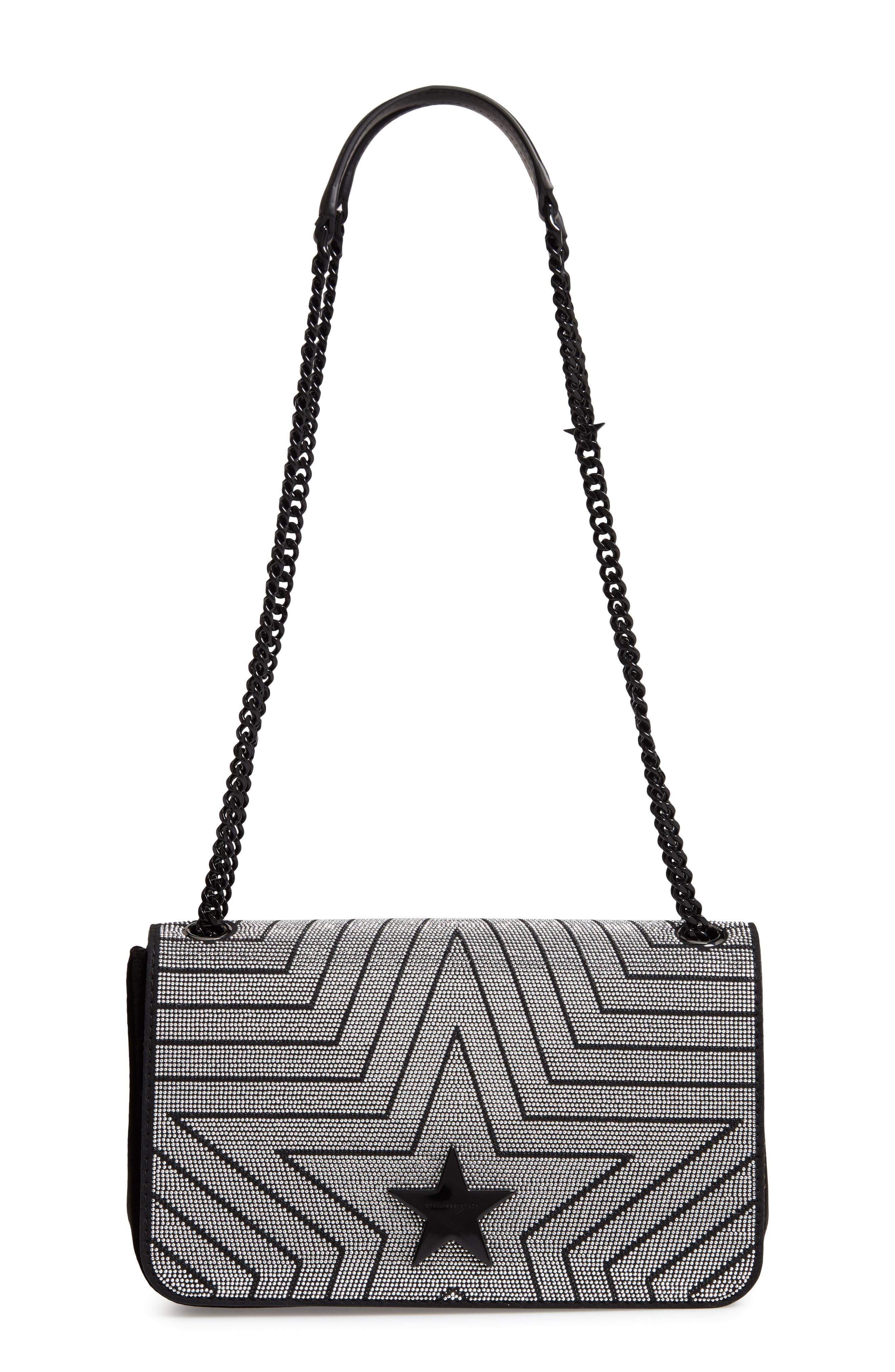Medium Crystal Star Shoulder Bag,                             Main thumbnail 1, color,                             BLACK