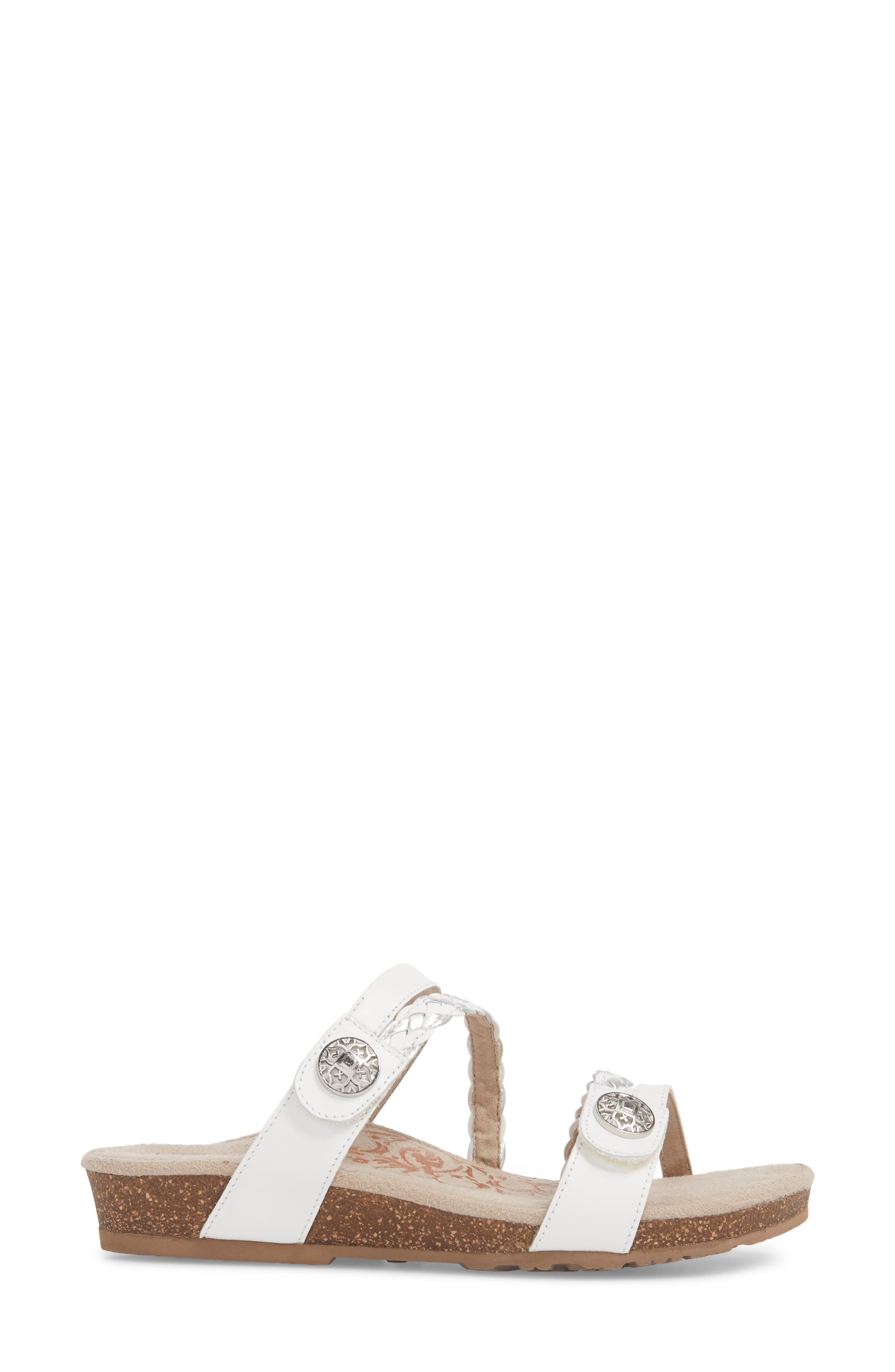 Janey Braided Slide Sandal,                             Alternate thumbnail 3, color,                             WHITE LEATHER