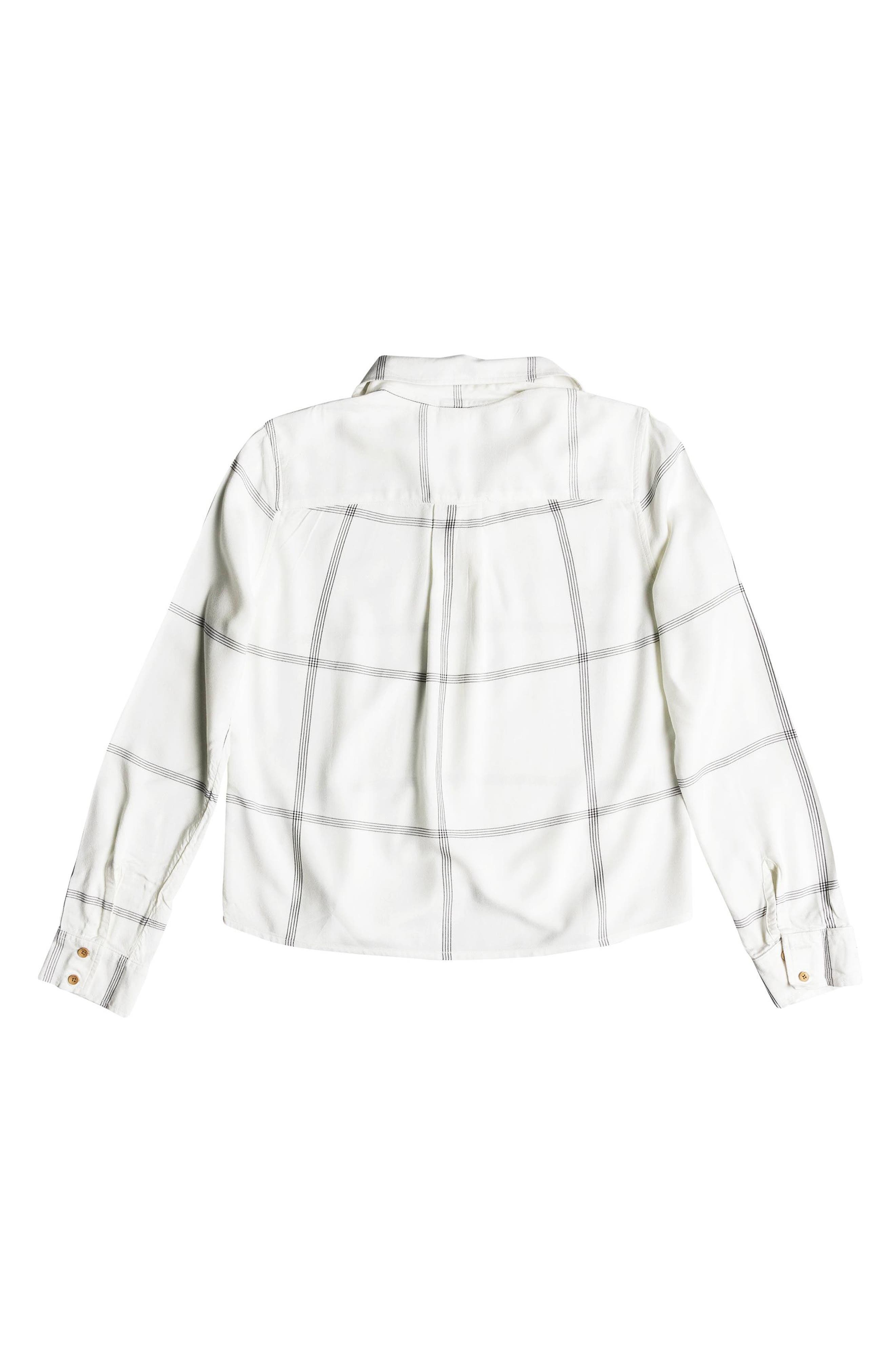 Suburb Vibes Tie Waist Top,                             Alternate thumbnail 6, color,                             MARSHMALLOW THIN LINES PLAID