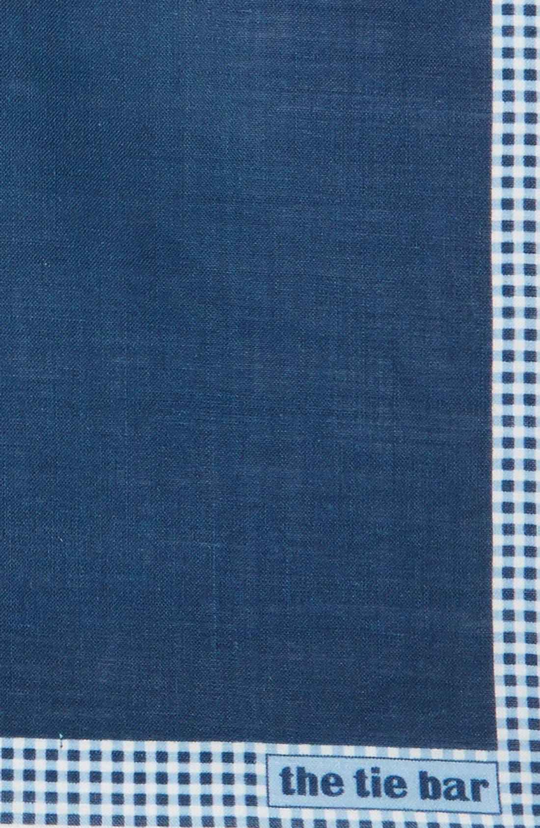 Gingham Plaid Border Linen Pocket Square,                             Alternate thumbnail 6, color,