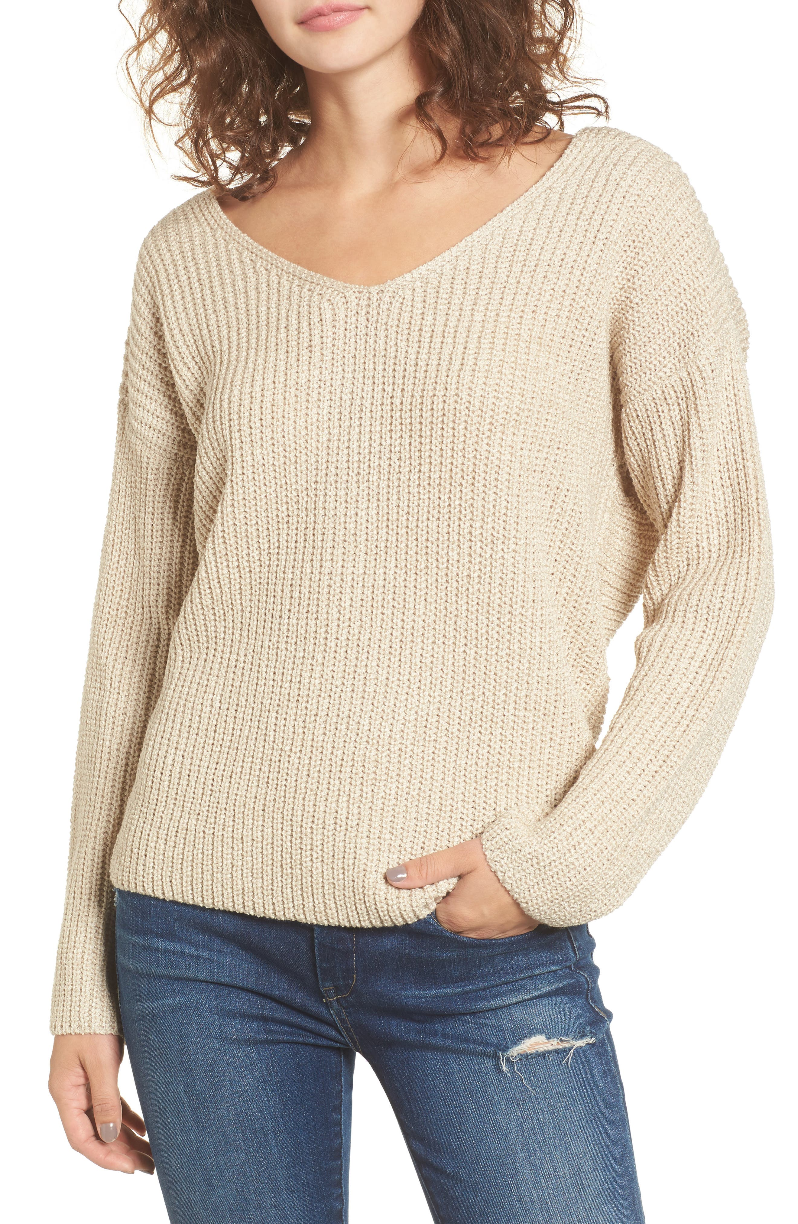 Twist Back Sweater,                         Main,                         color, OATMEAL