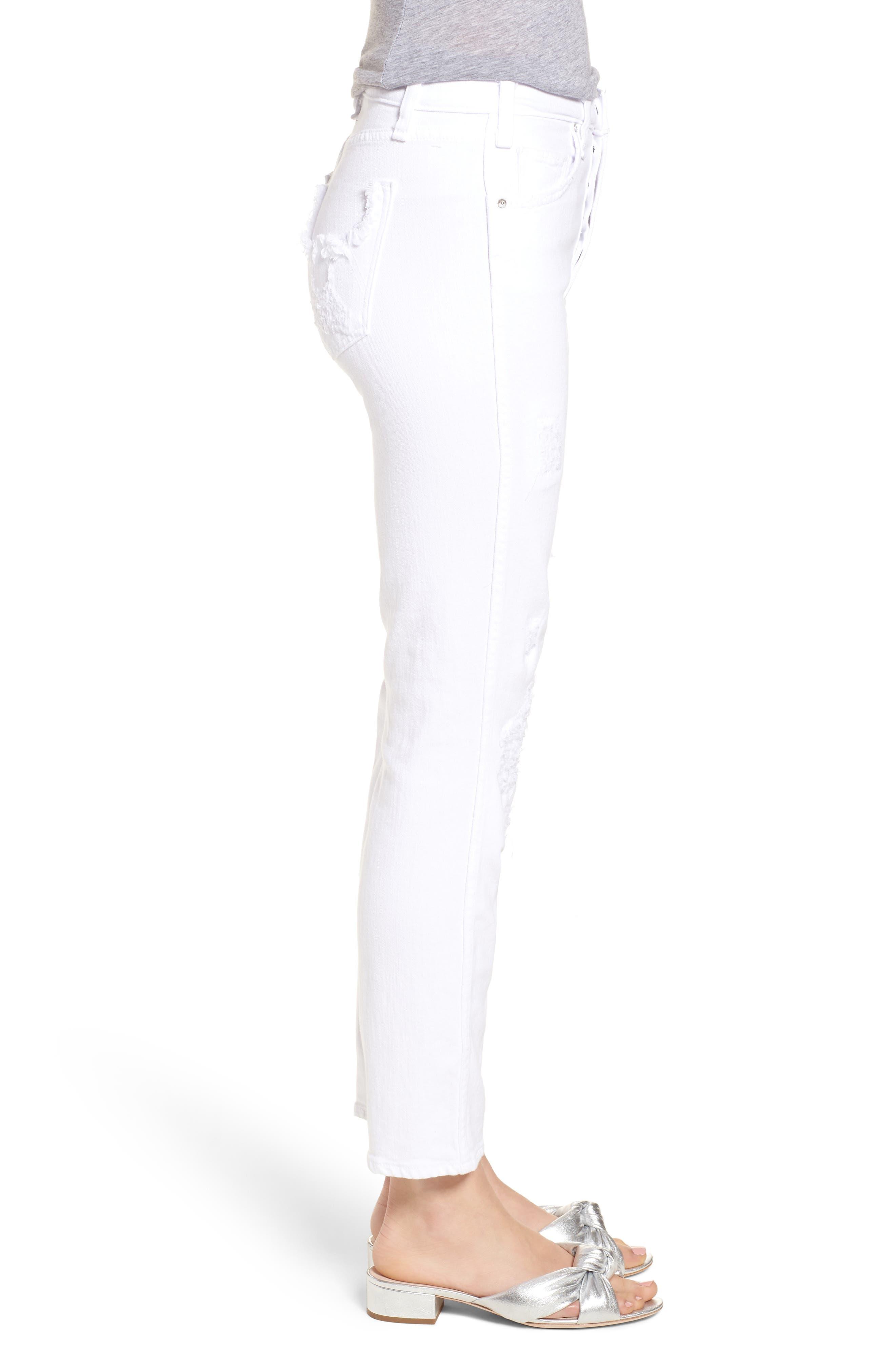 Kaia Distressed High Waist Slim Jeans,                             Alternate thumbnail 3, color,                             100