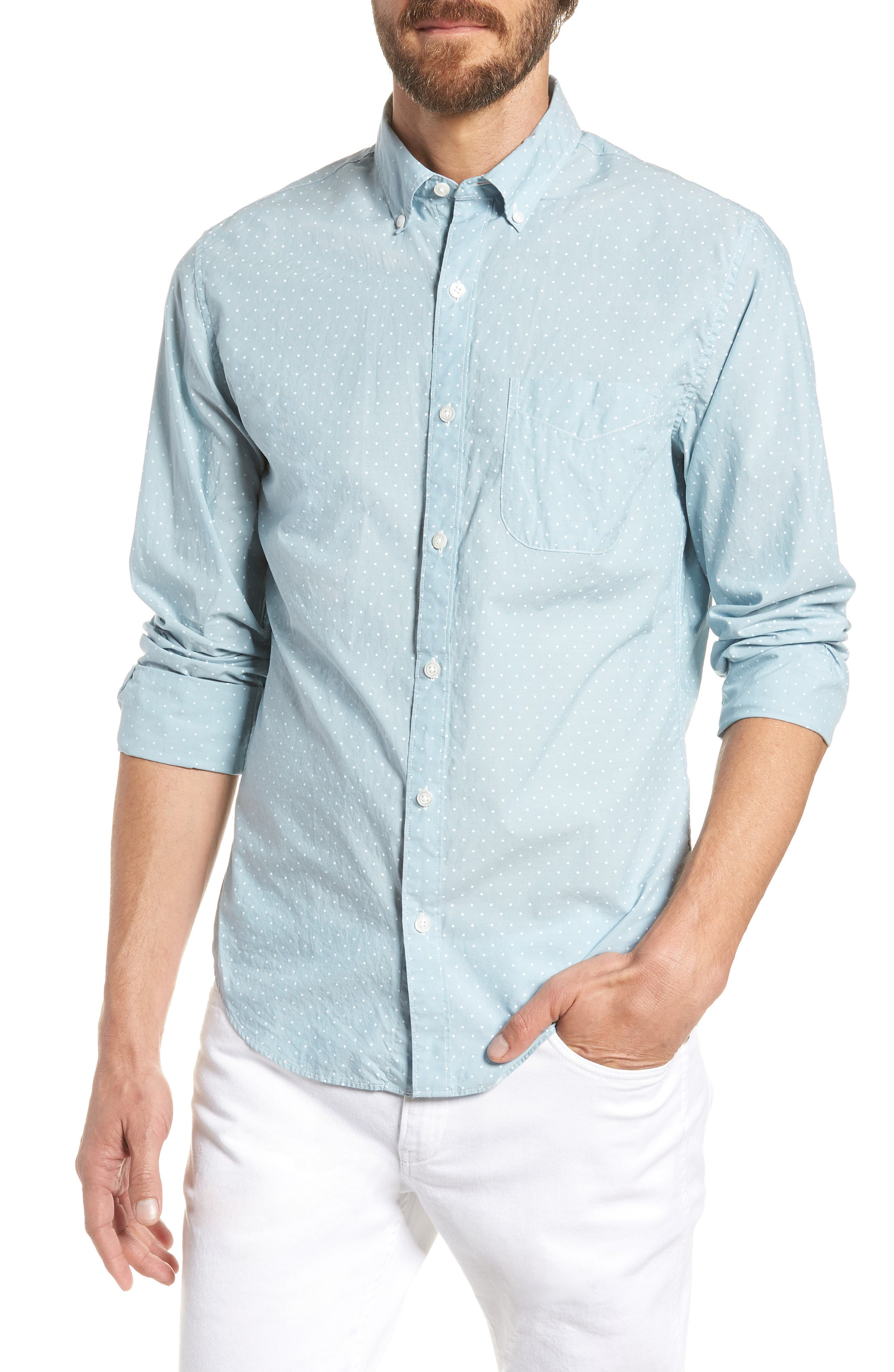 Summerweight Slim Fit Dot Sport Shirt,                         Main,                         color, 400