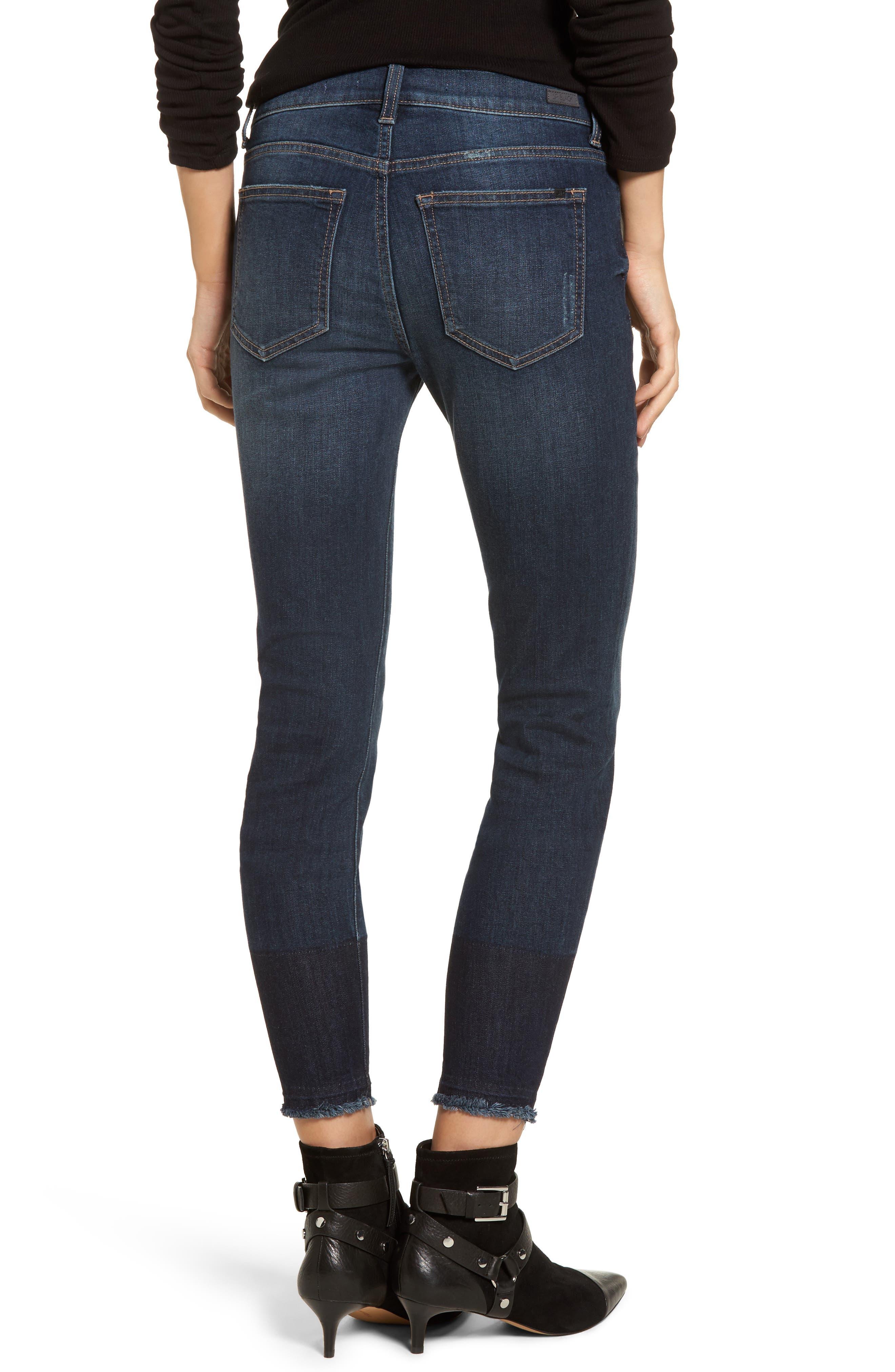 Colorblock Hem Skinny Jeans,                             Alternate thumbnail 2, color,                             401