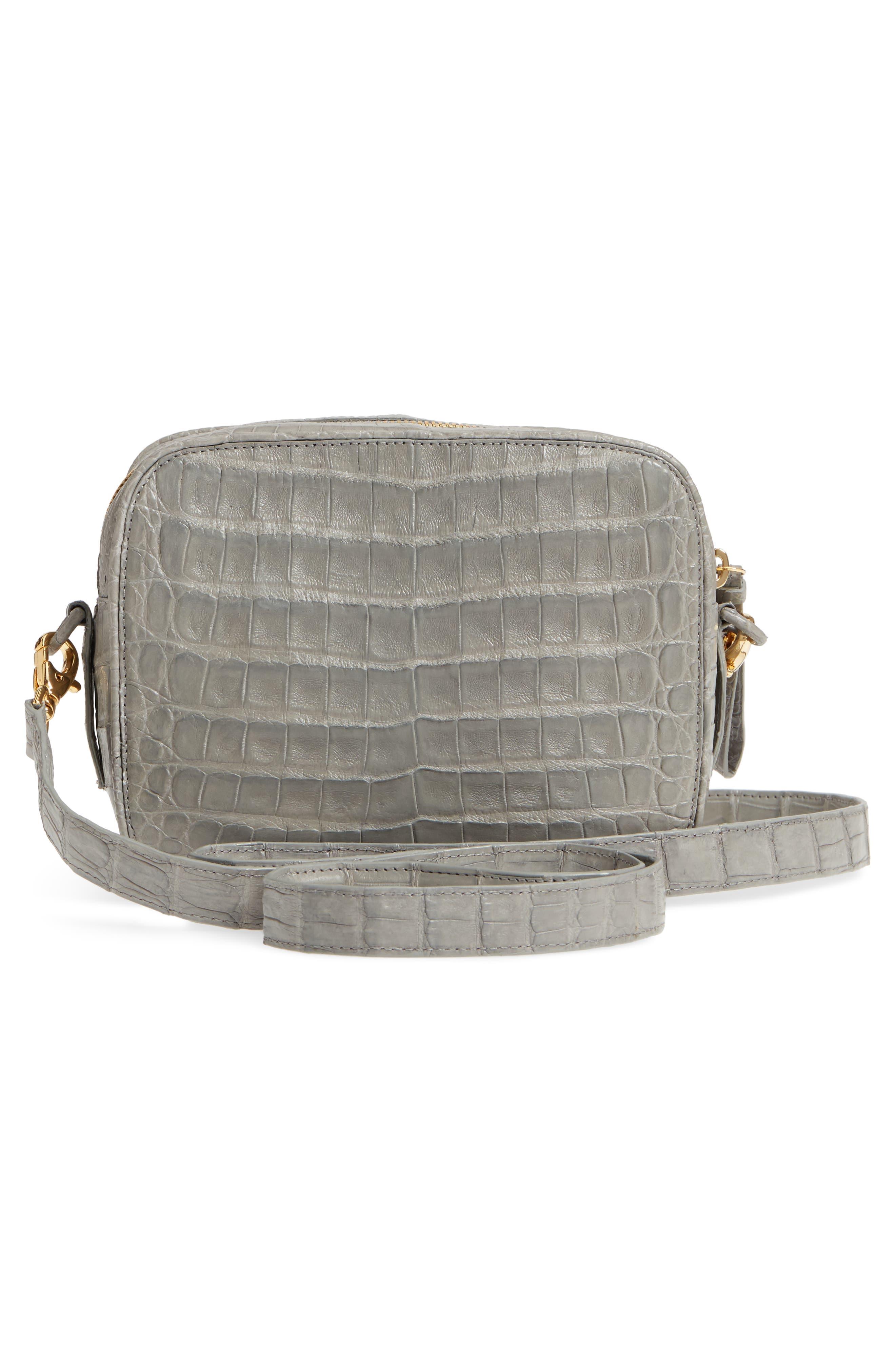 Genuine Crocodile Crossbody Bag,                             Alternate thumbnail 3, color,                             020