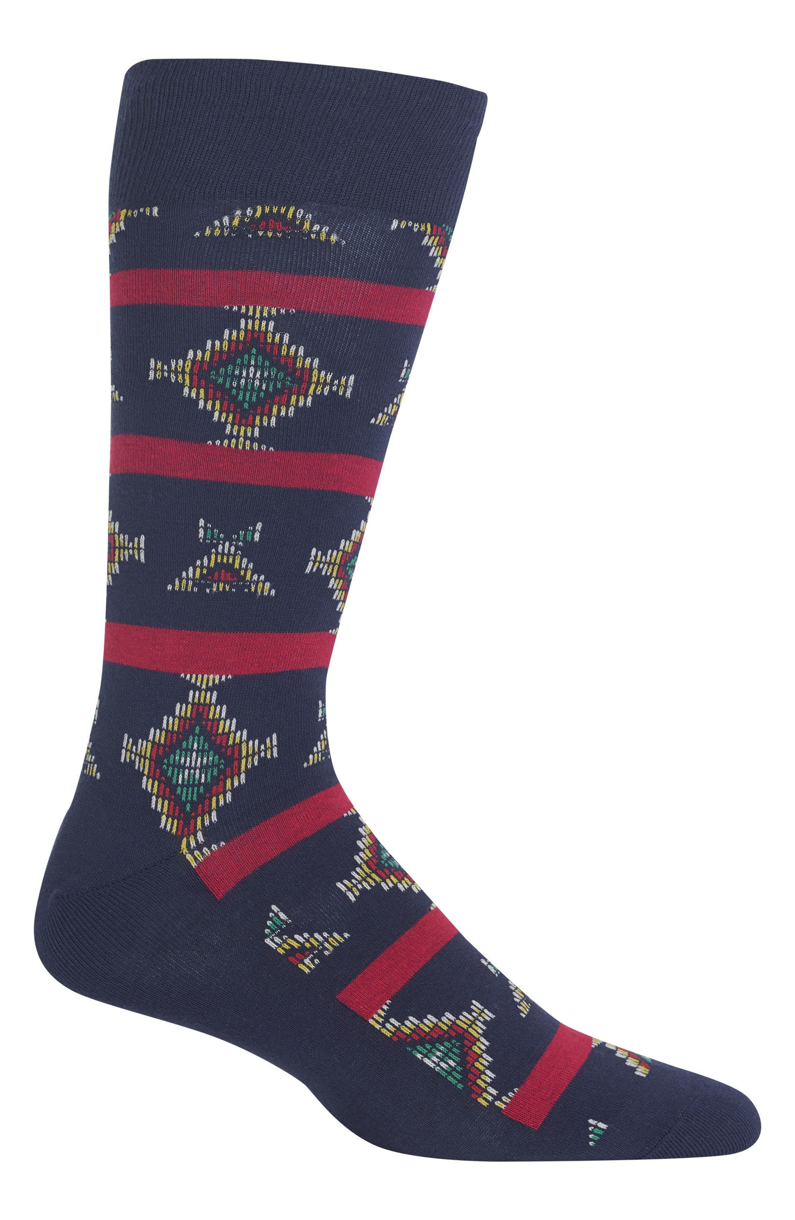 Ralph Lauren Geometric Socks,                             Main thumbnail 1, color,                             NAVY