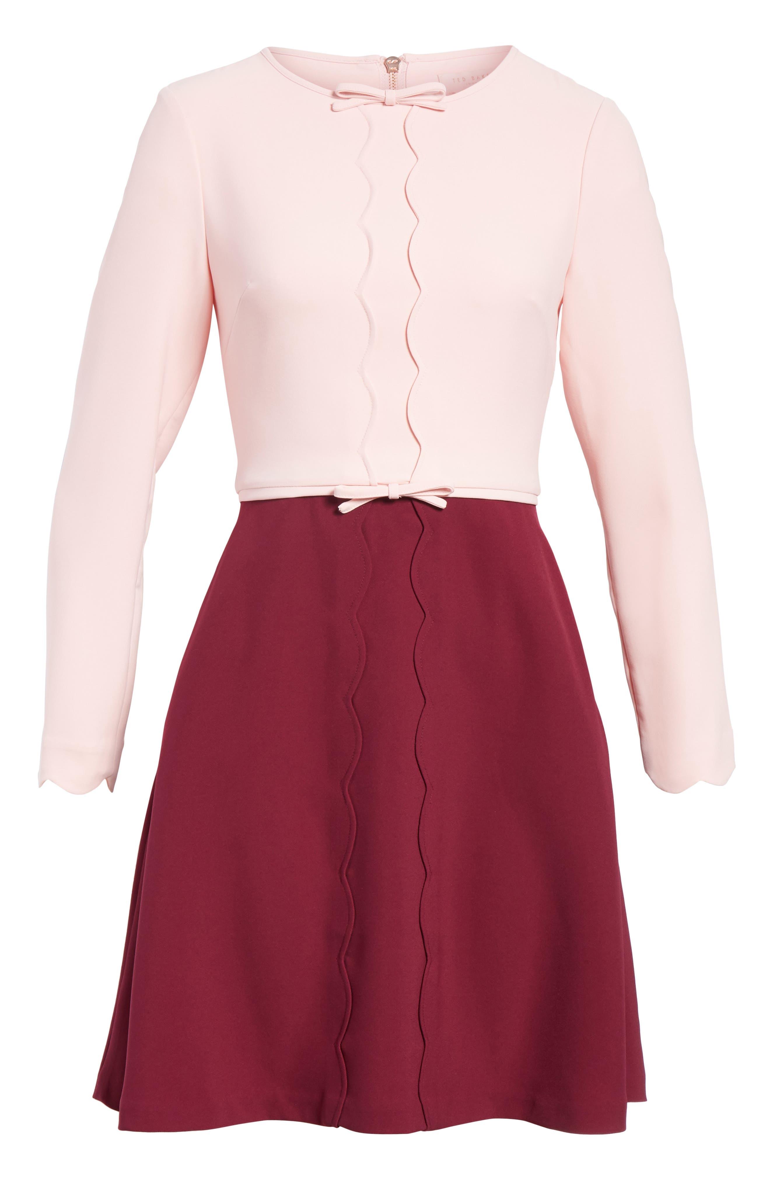 Scalloped A-Line Dress,                             Alternate thumbnail 12, color,