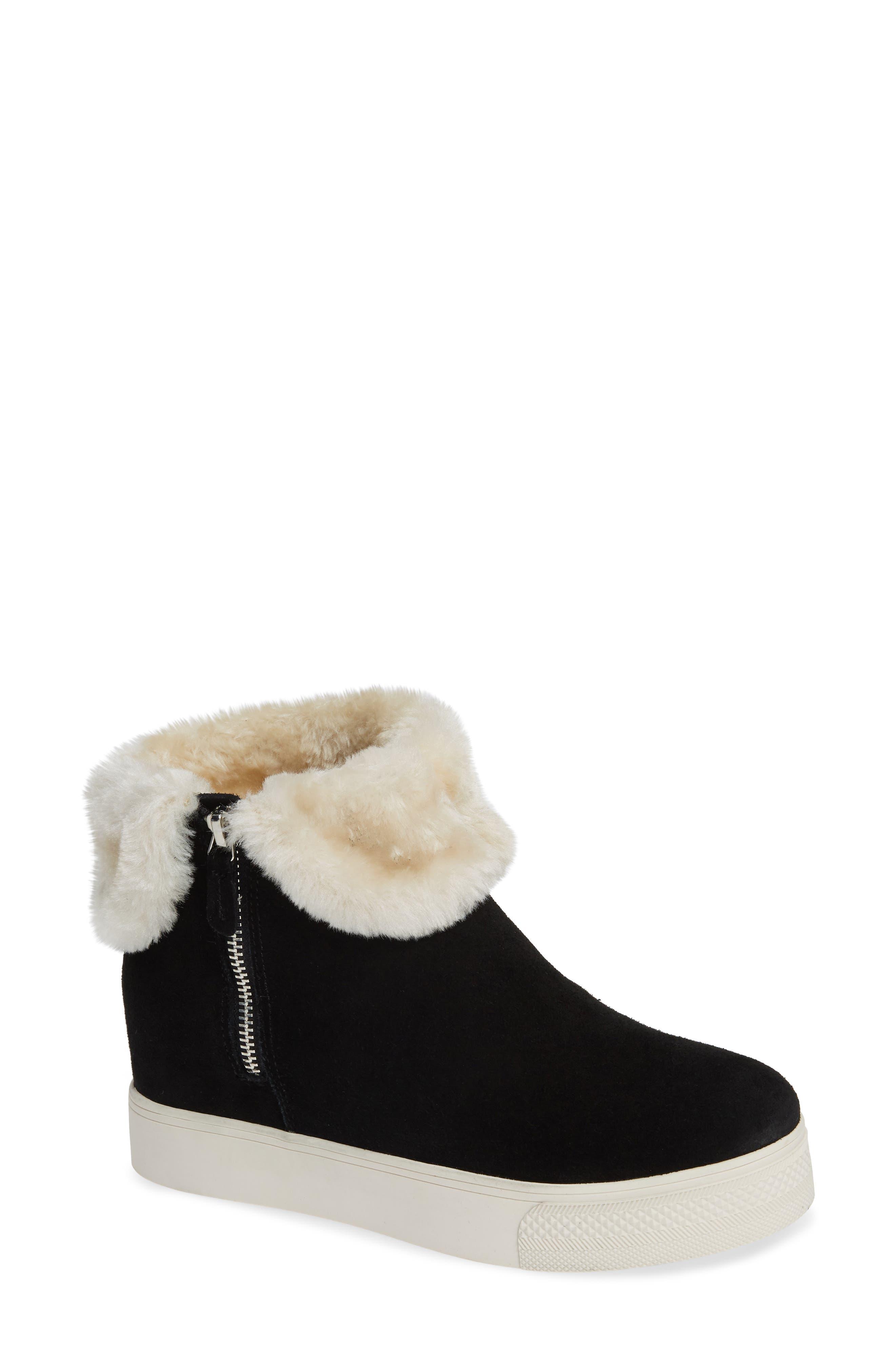 STEVE MADDEN Faux Fur Lined Sneaker, Main, color, 006