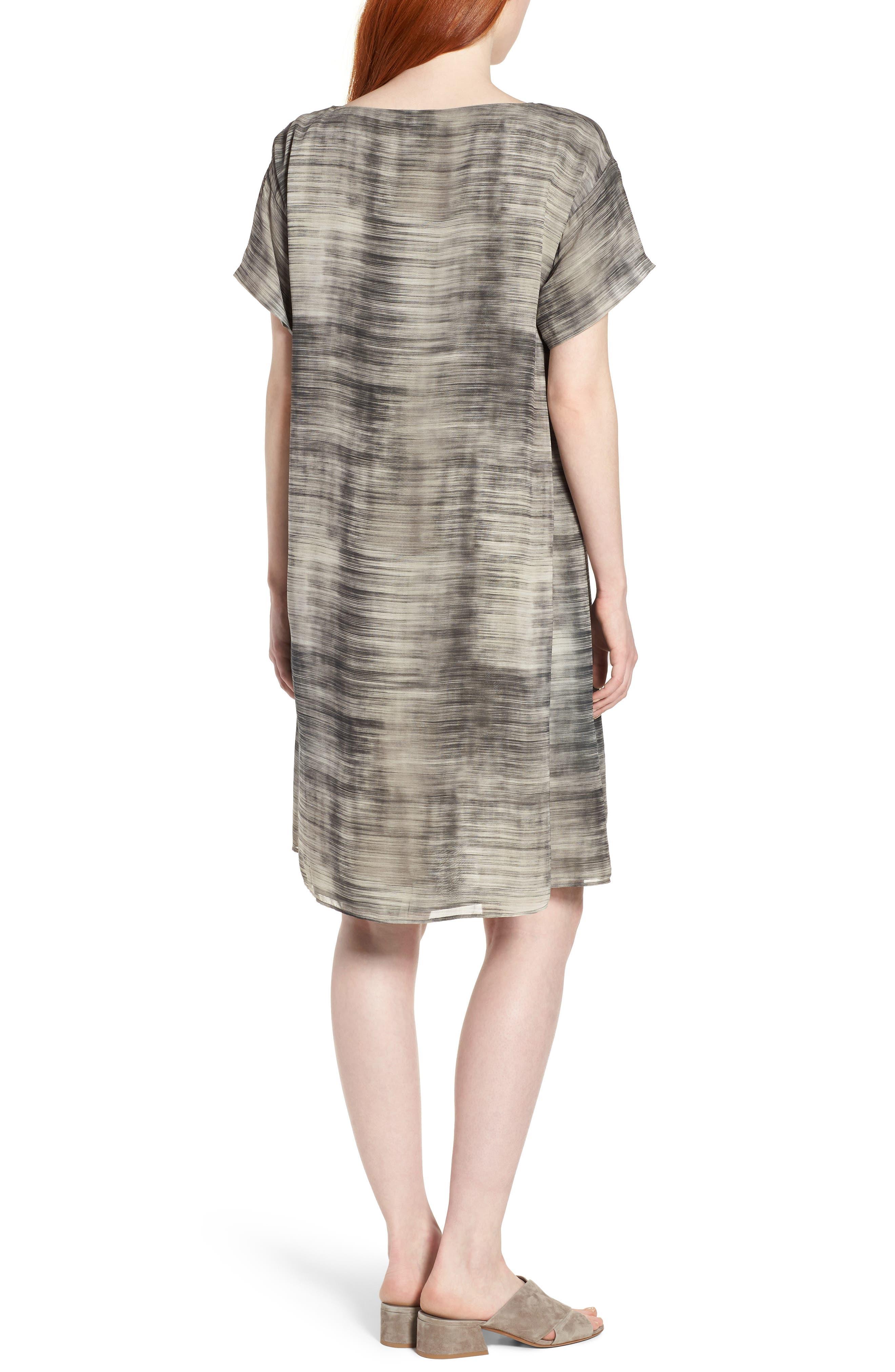 Bateau Neck Silk Shift Dress,                             Alternate thumbnail 3, color,