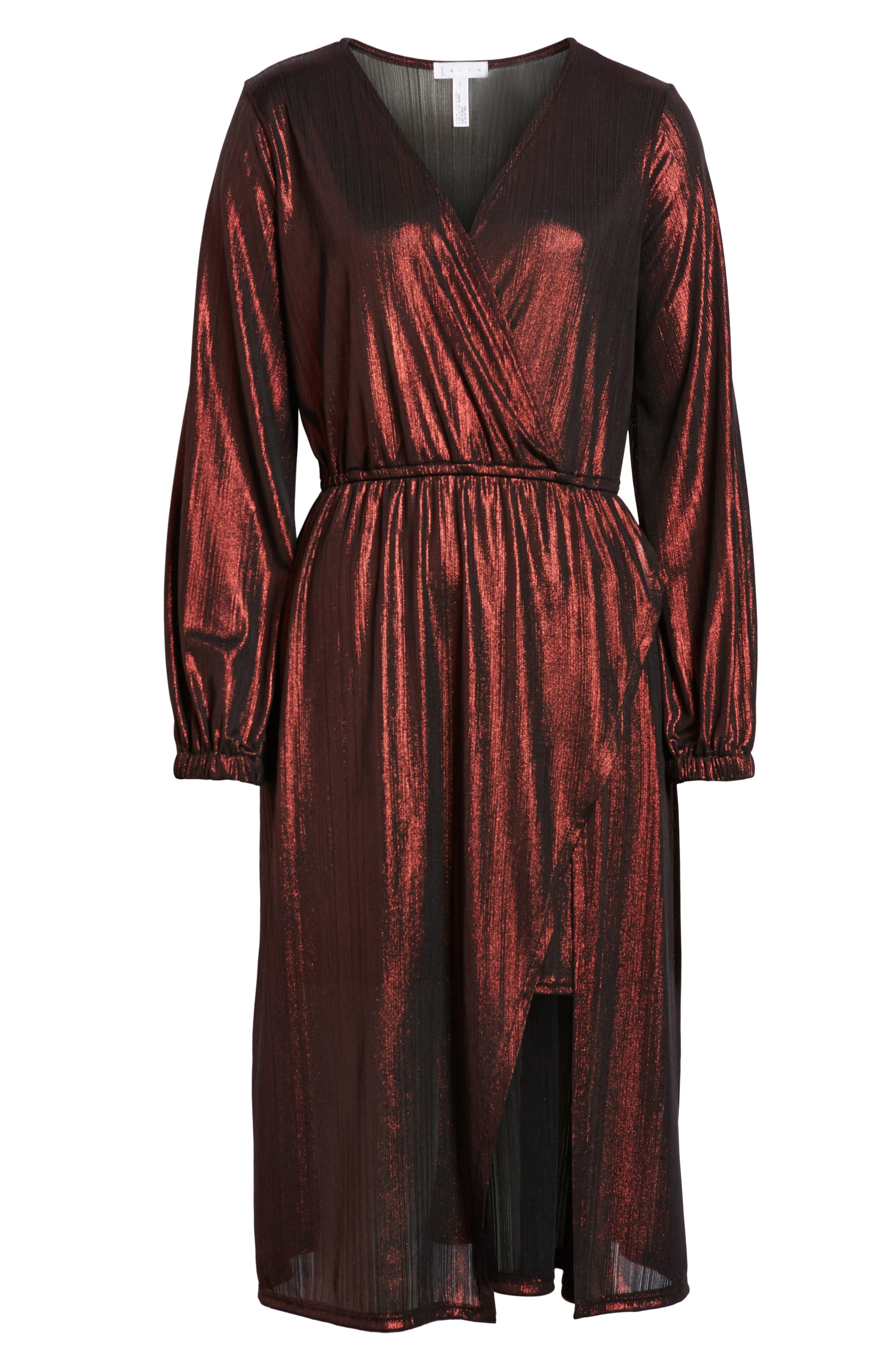 Long Sleeve Deep V-Neck Midi Dress,                             Alternate thumbnail 6, color,                             ROSE GOLD
